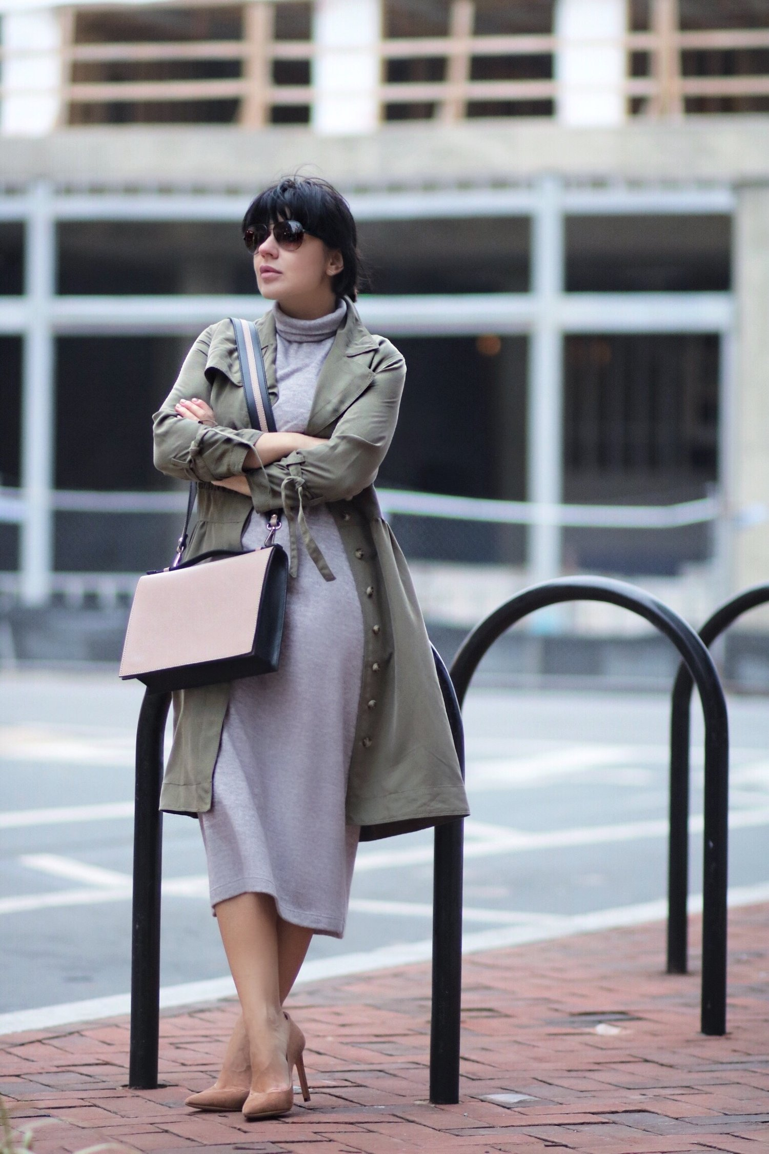 layred olive trench dress grey dress l