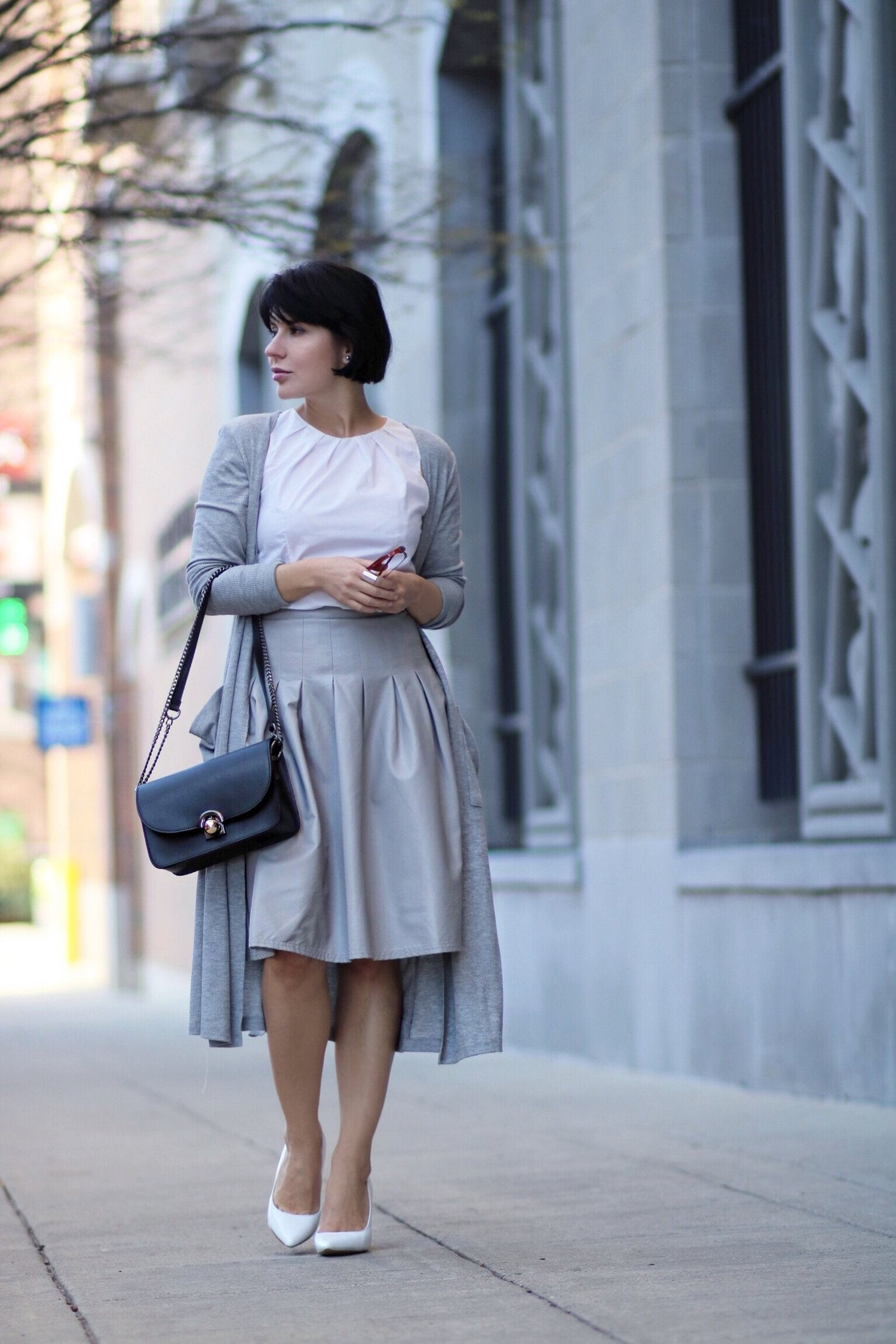 grey leather skirt blogger style