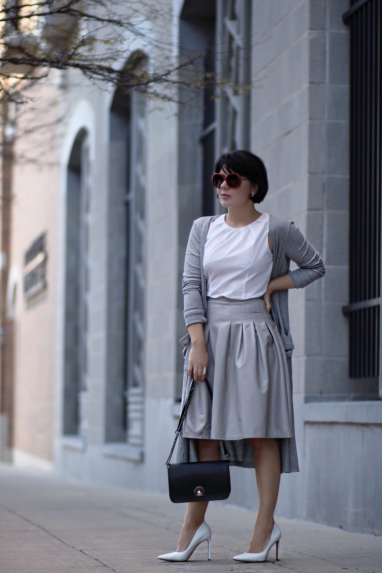 leather skirt knit cardi work outfit