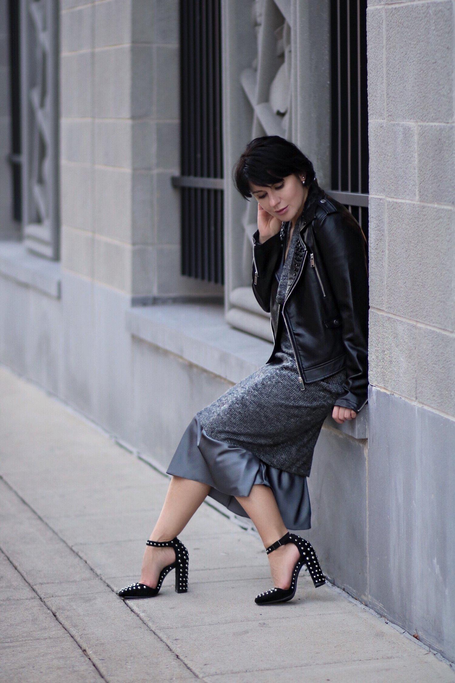 grey slip silk dress streetstyle