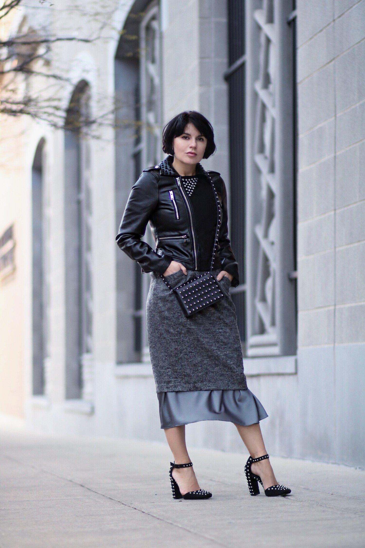 Alexander Wang studded bag blogger style