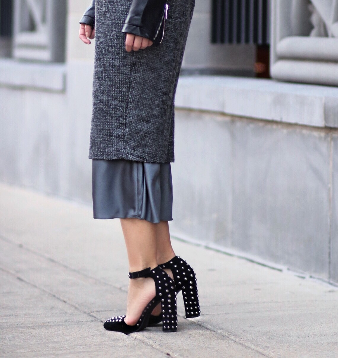 close up studded shoes blogger style