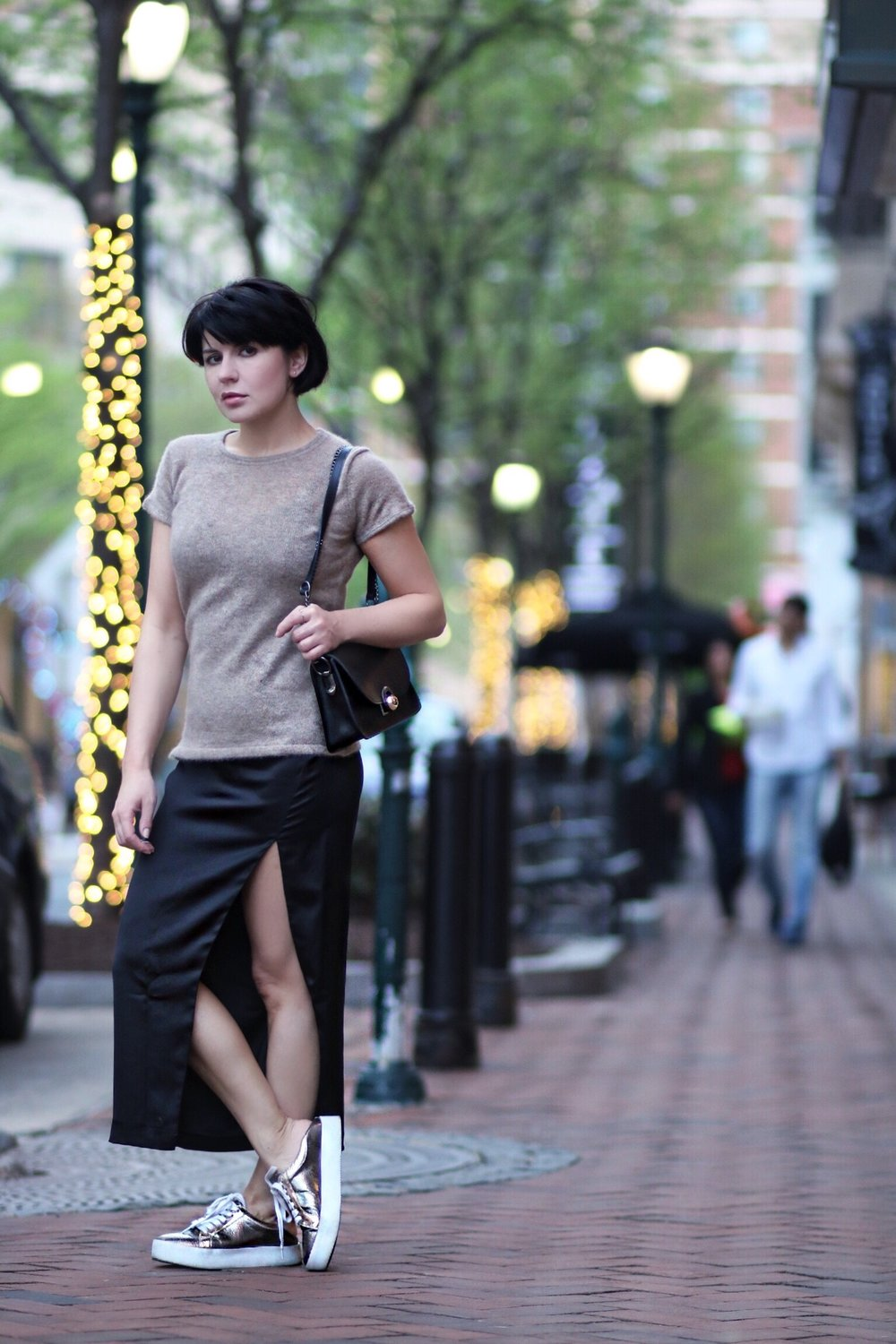cashmere top silk skirt streetstyle