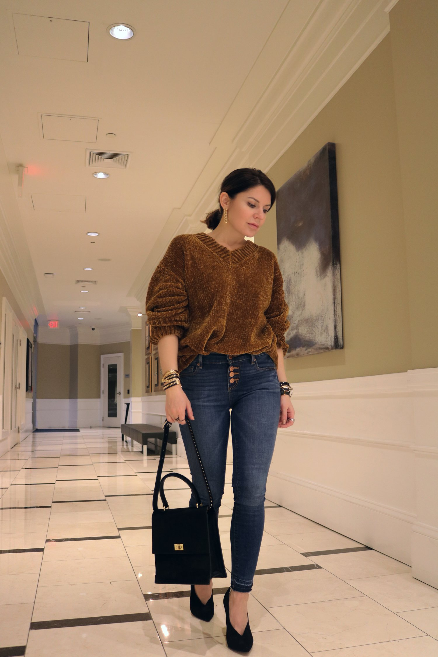 denim-brown-chenille-sweater-outfit