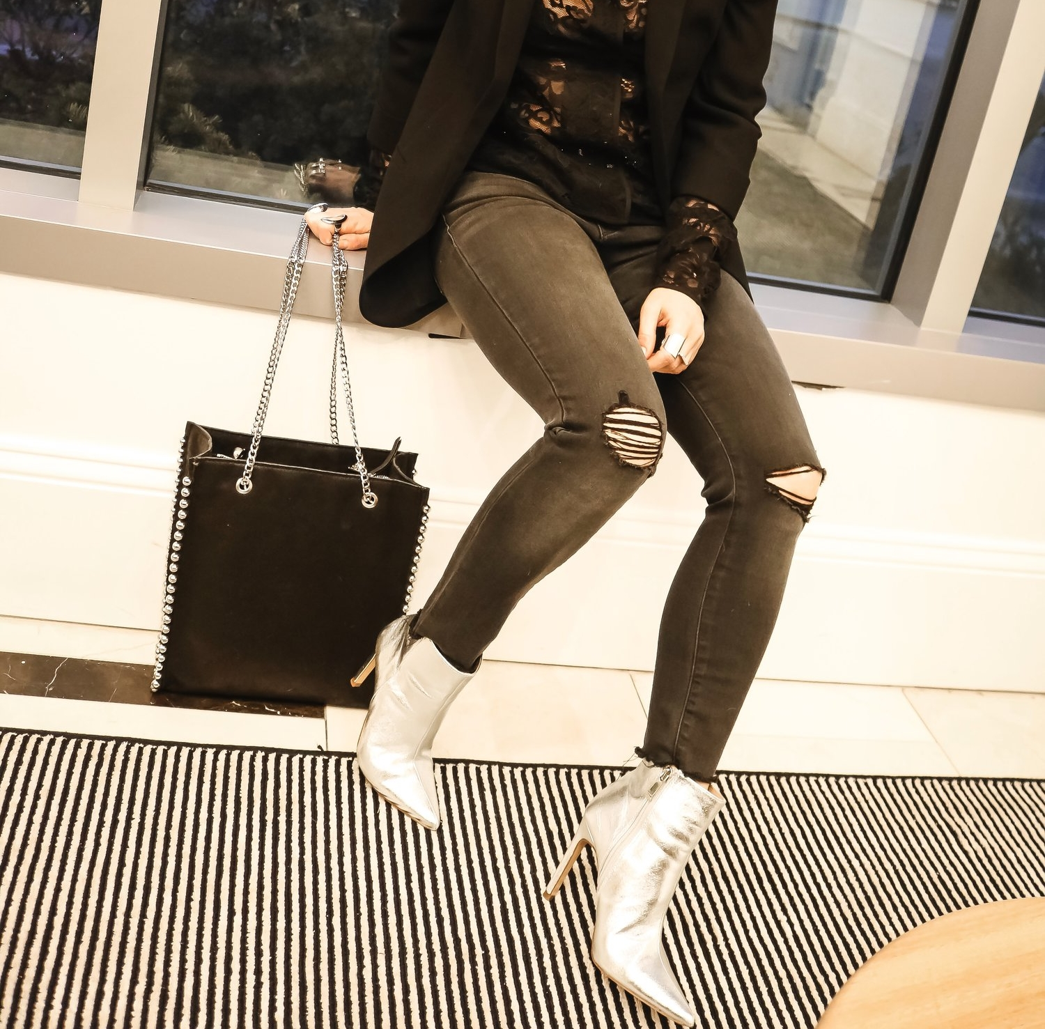 Silver-ankle-boots-trend-studded-bag