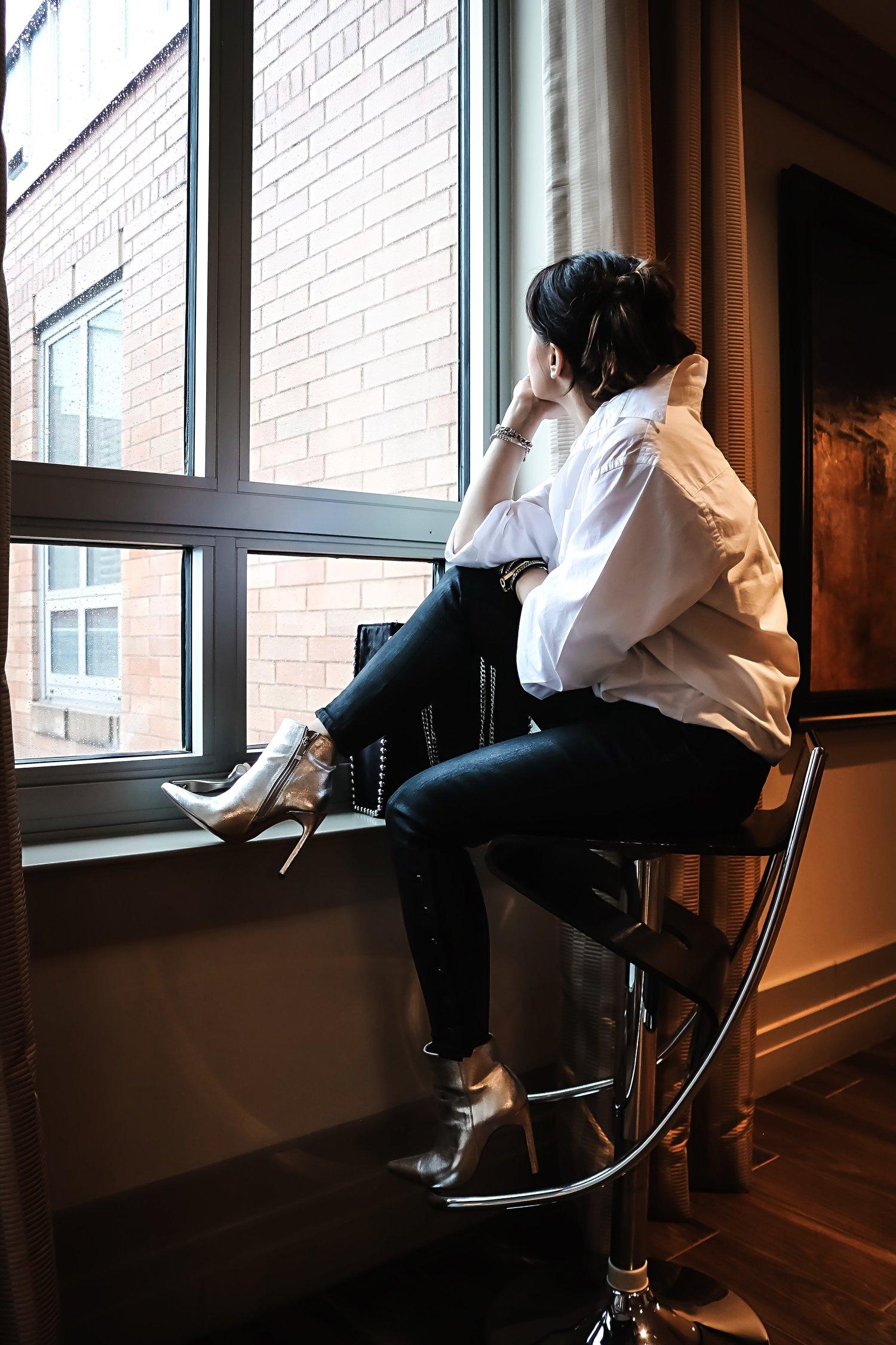 Date-night-white-shirt-coated-denim-window