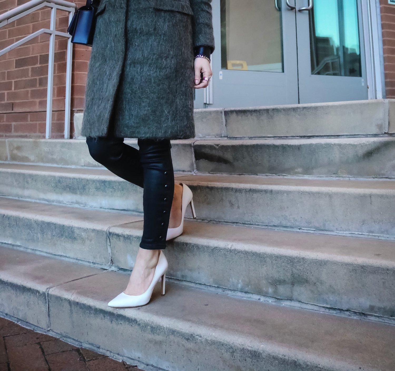 Isabel-Alexander-wearing-Gap-coated-denim-white-Nine-West-heels