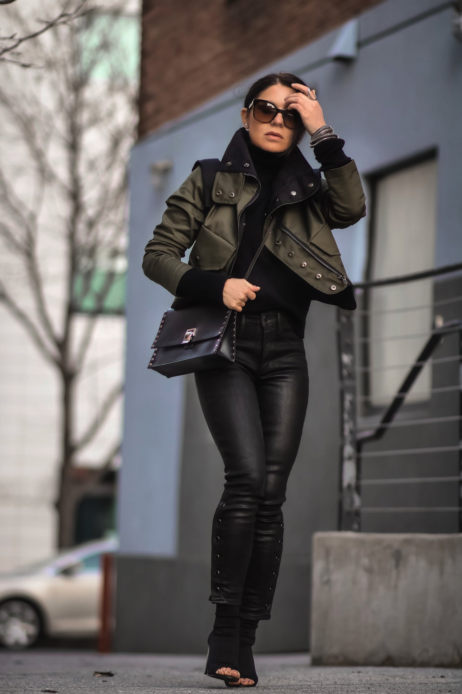 Isabel-Alexander-Clothia-jacket-coated-denim-street-shot-walking