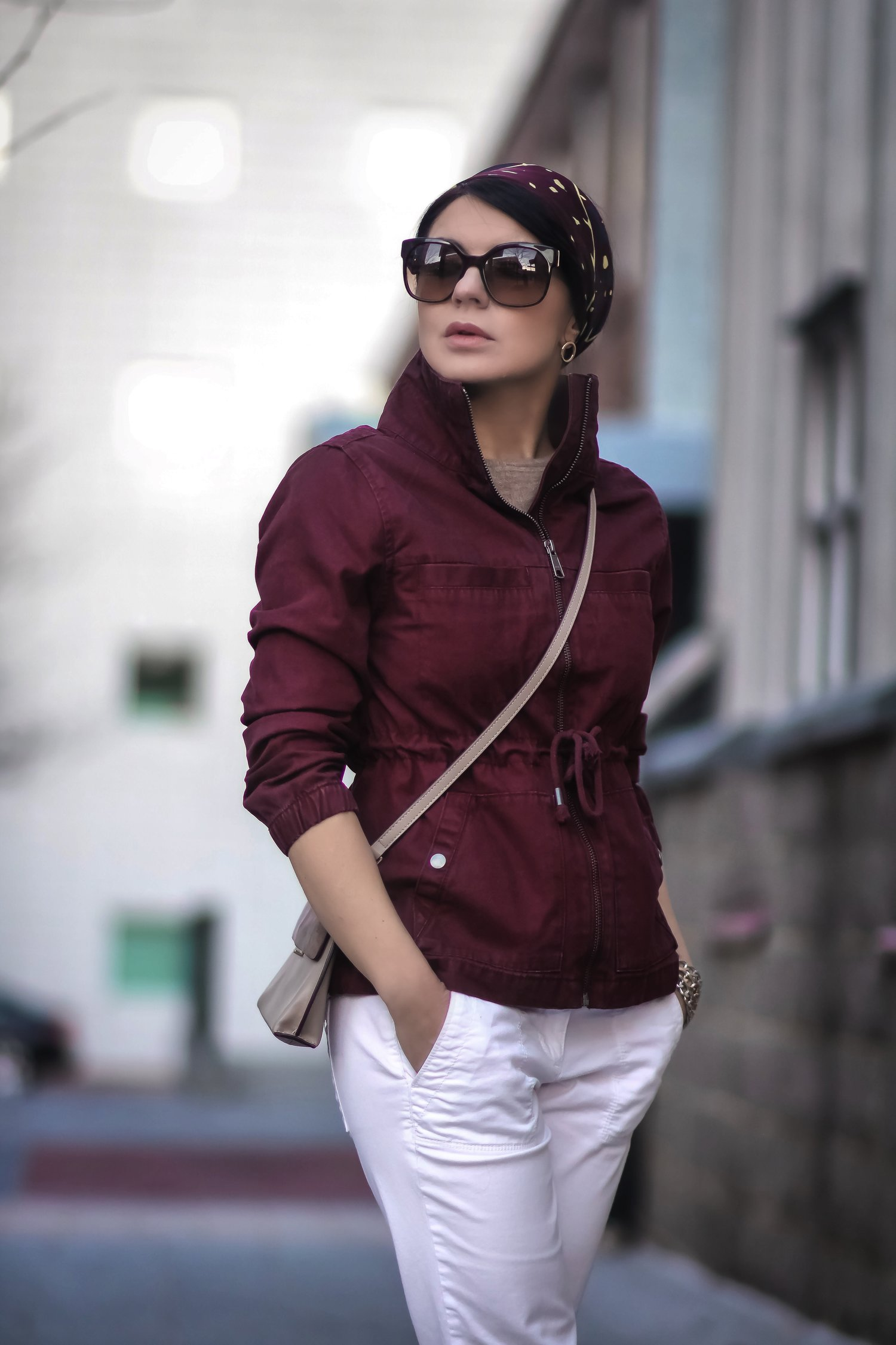 Isabel-Alexander-Old-Navy-burgundy-jacket-white-denim-silk-scarf