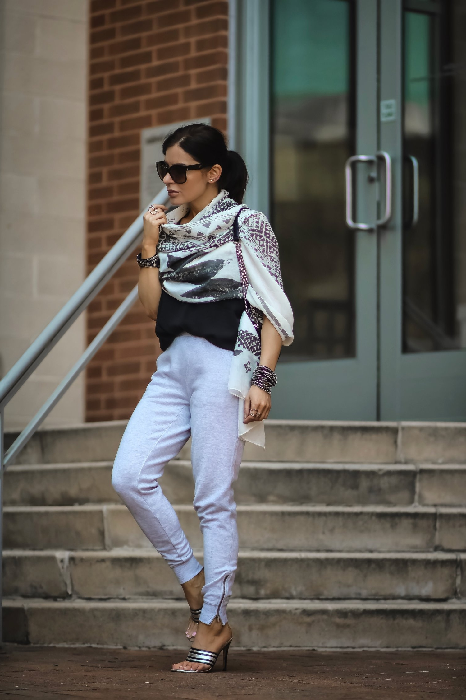 Isabel-Alexander-Aerie-grey-joggers-white-scarf-steps