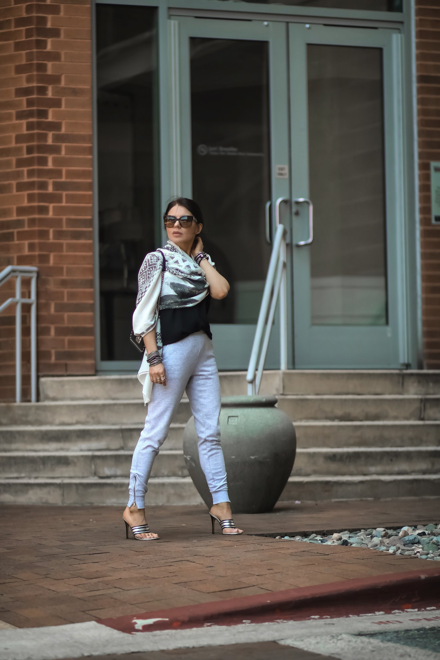 Isabel-Alexander-Aerie-light-grey-joggers-scarf-Gina-shoes-blogger-style
