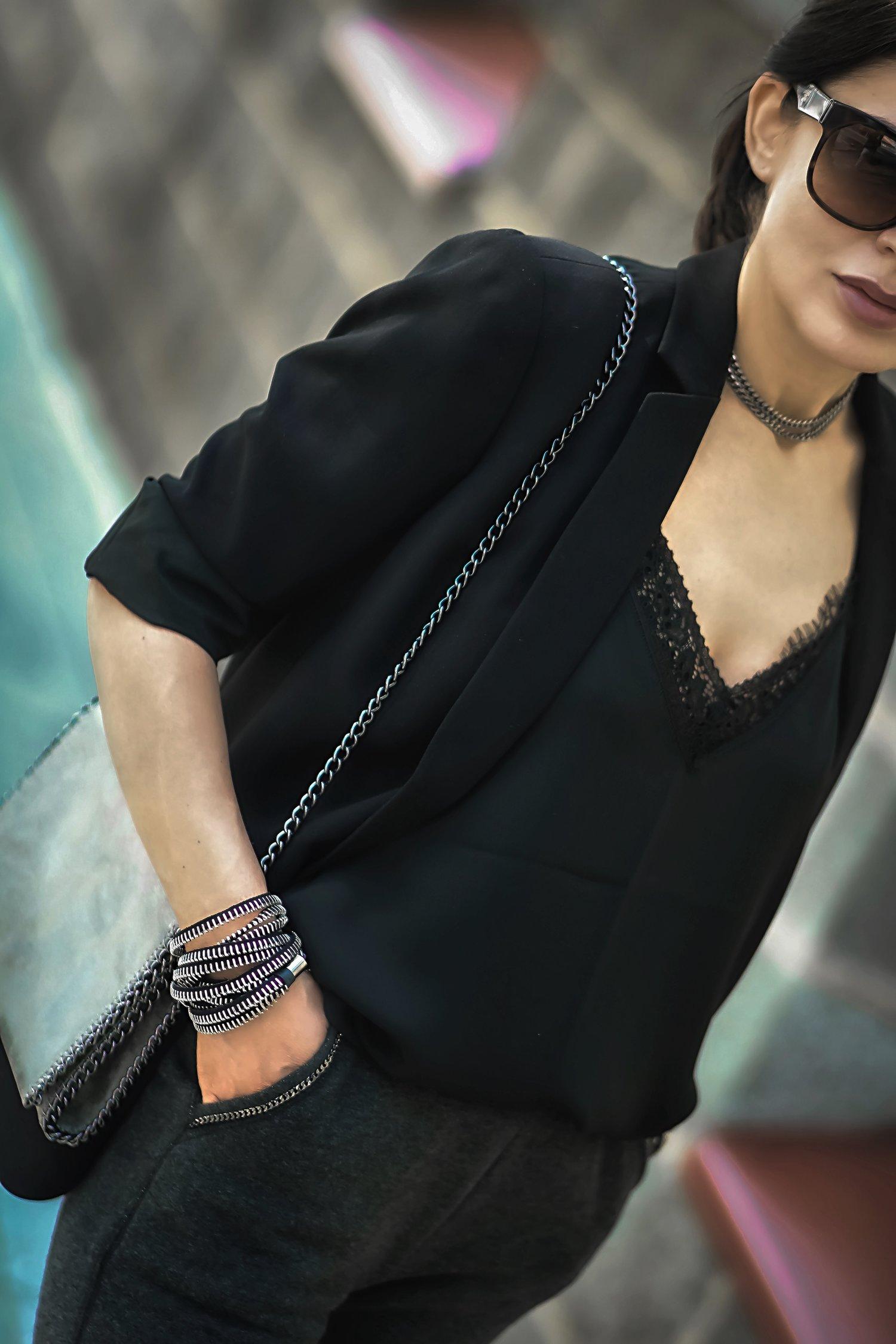 Nordstrom Bag The Dark Shop Zipper Bracelet Detail Close Up Isabel Alexander