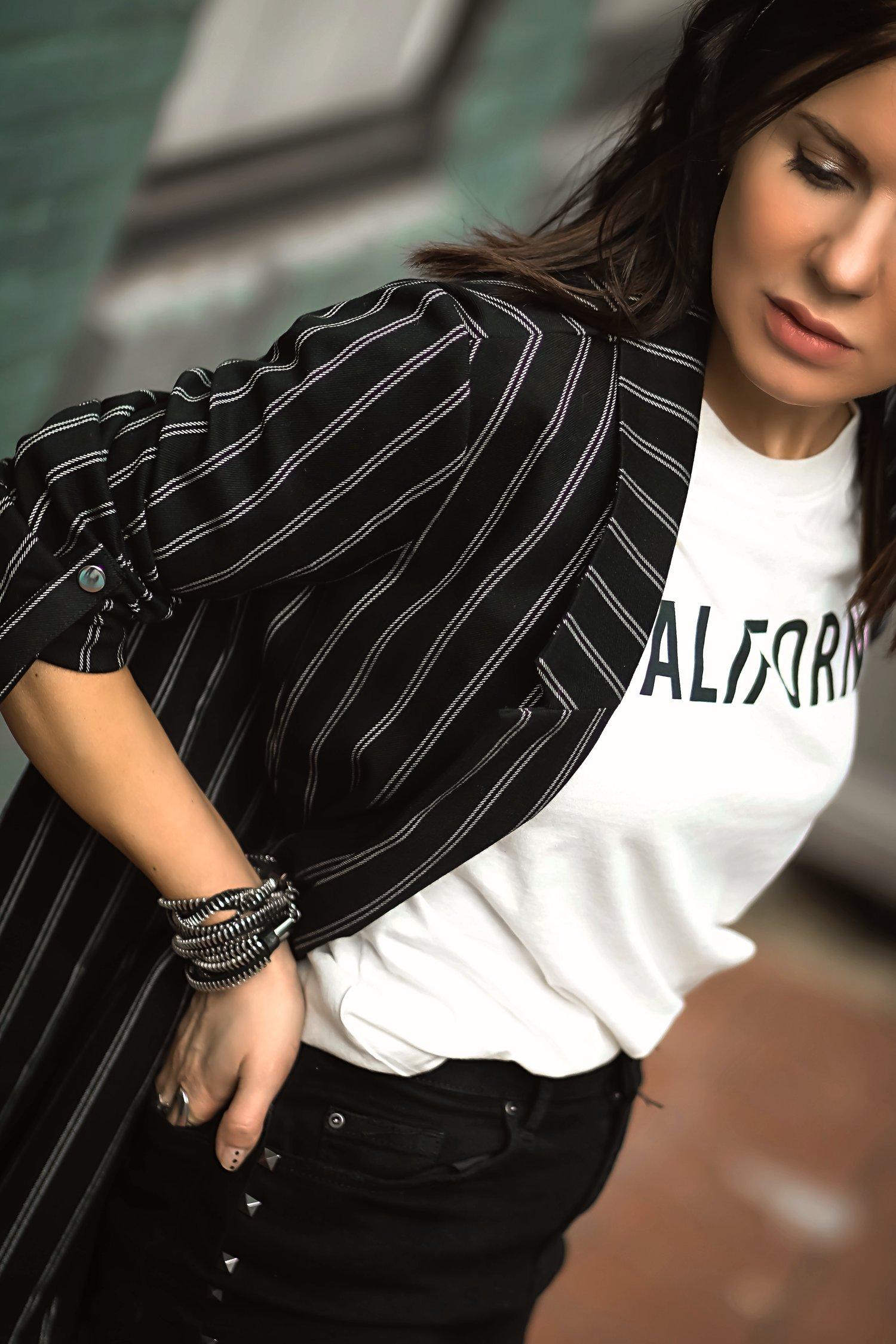 Stradivarius Striped Blazer Levis California Tshirt Close Up Isabel Alexander