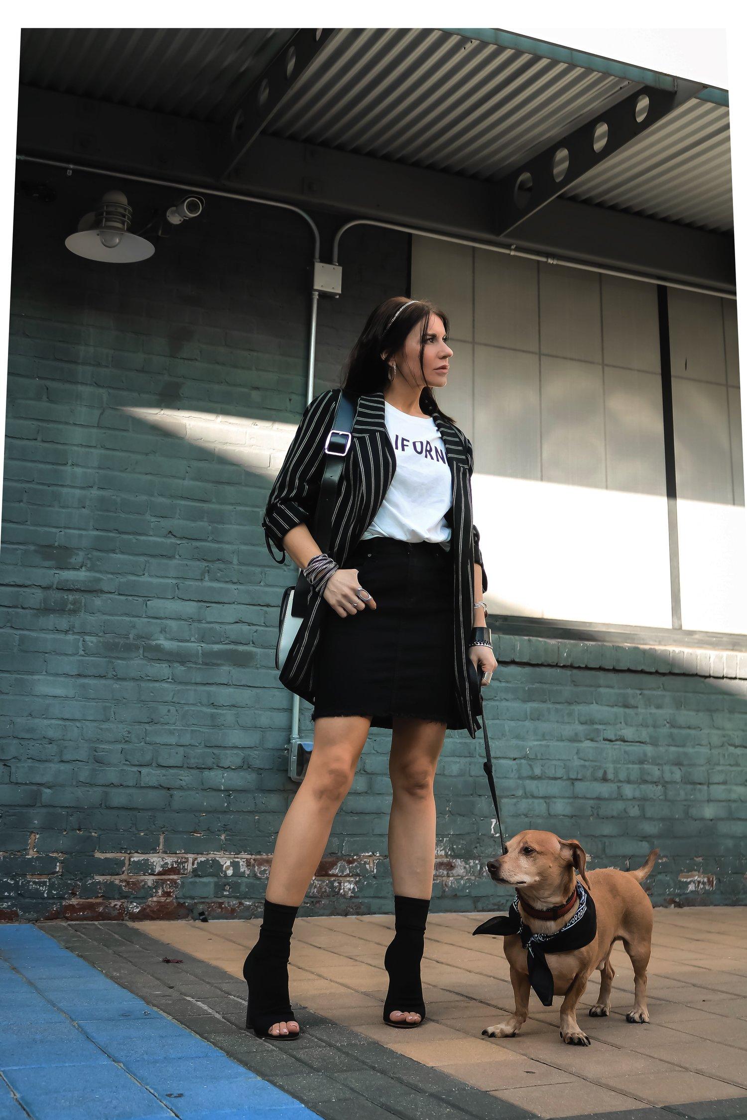 sabel Alexander Wearing Stradivarius Boyfriend Striped Blazer H&M Studded Denim Skirt With Her Daschund Dog