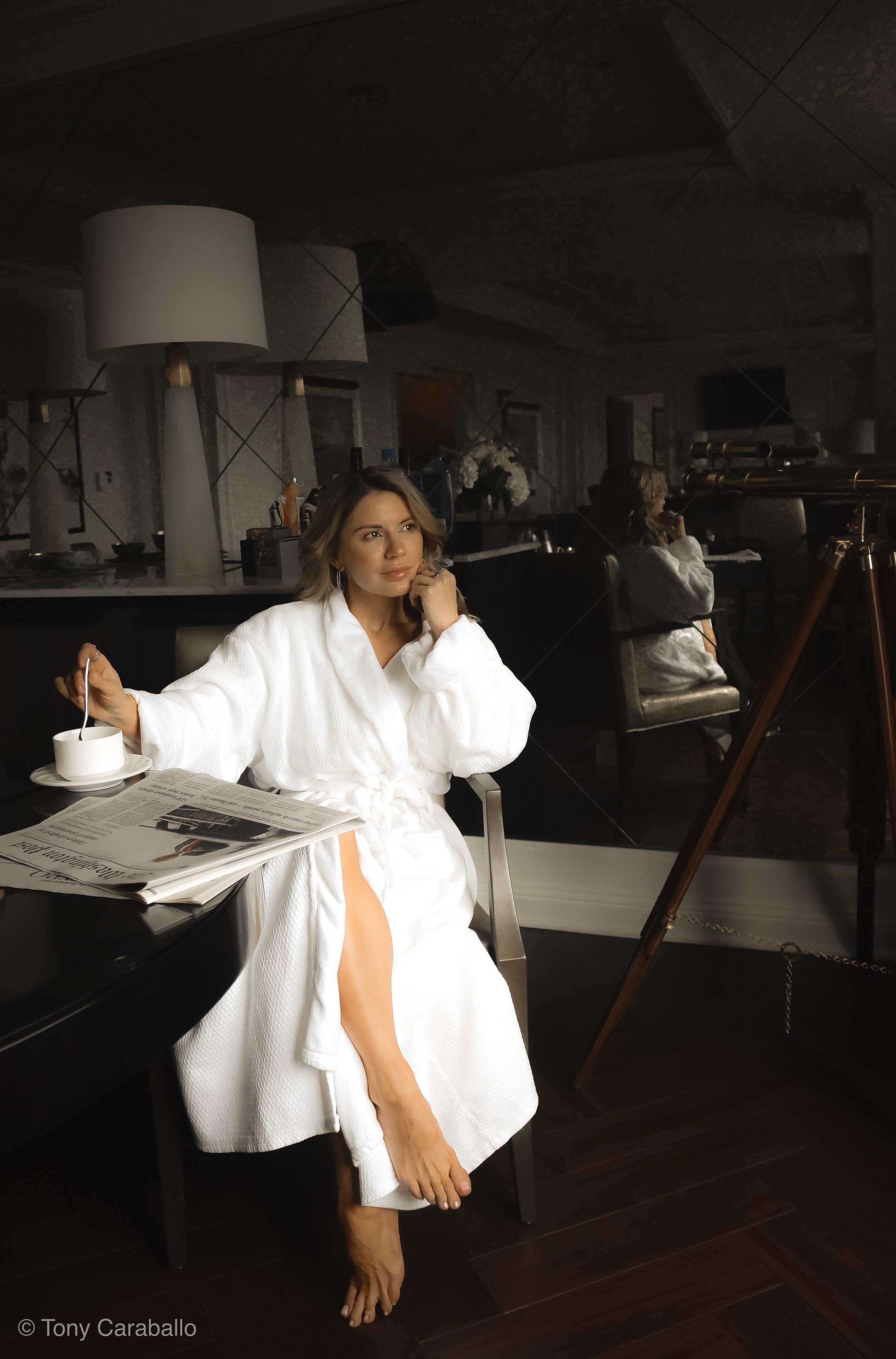 Ritz Carlton Presidential Suite isabel Alexander enjoying morning coffee