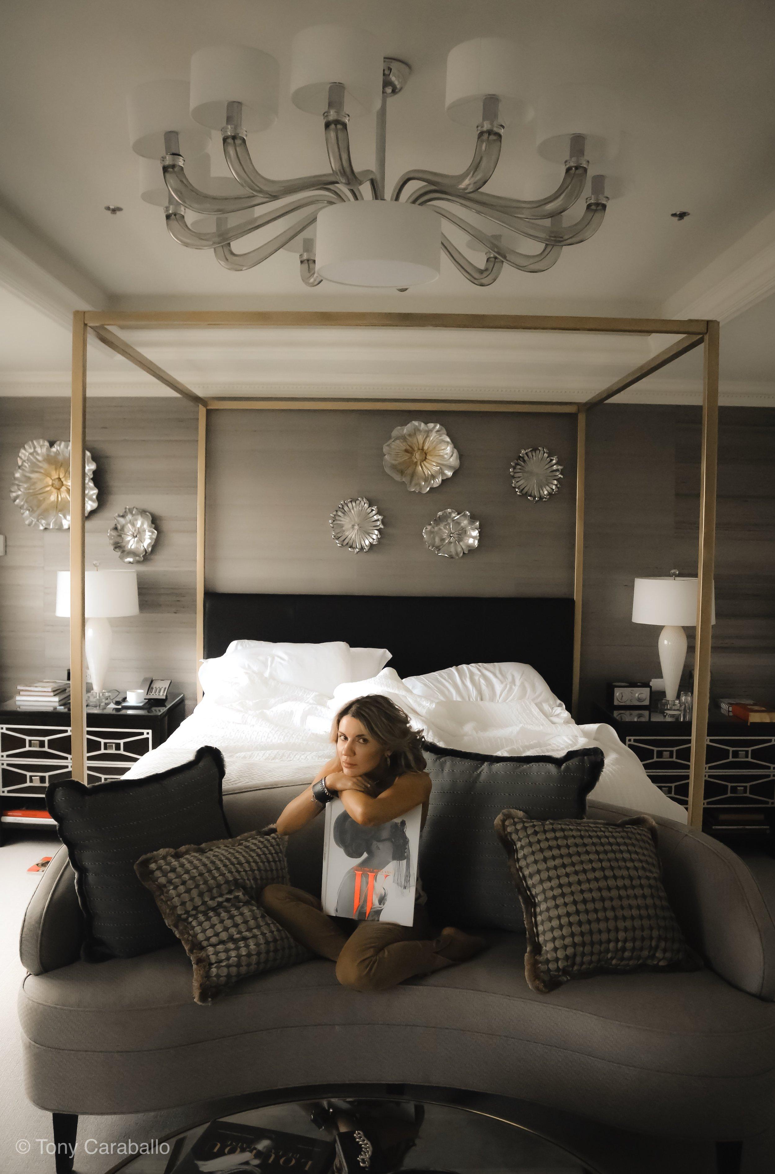Ritz Carlton Presidential Suite Isabel Alexander sitting in the bedroom