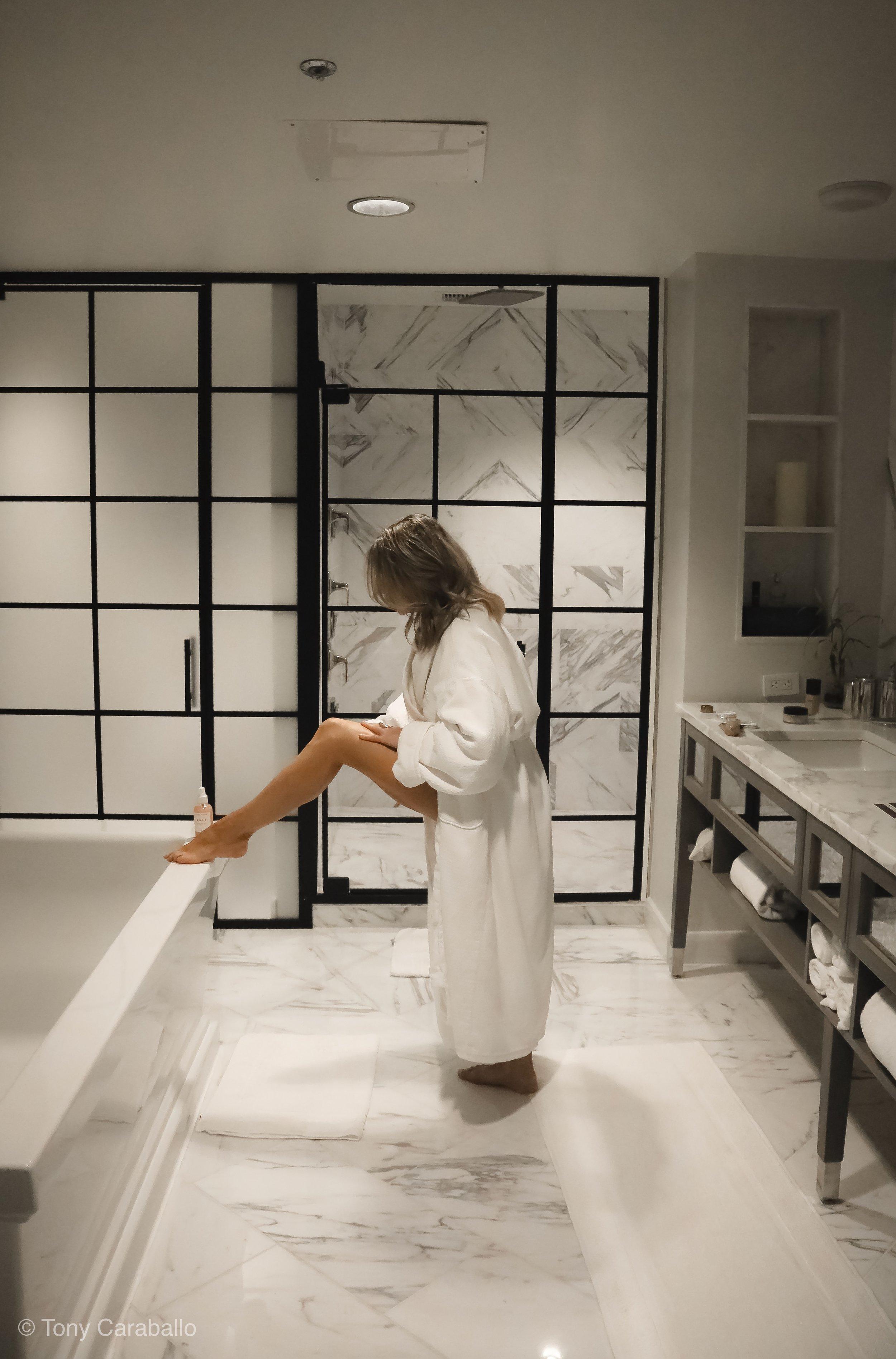 Ritz Carlton Master bathroom Isabel Alexander getting ready
