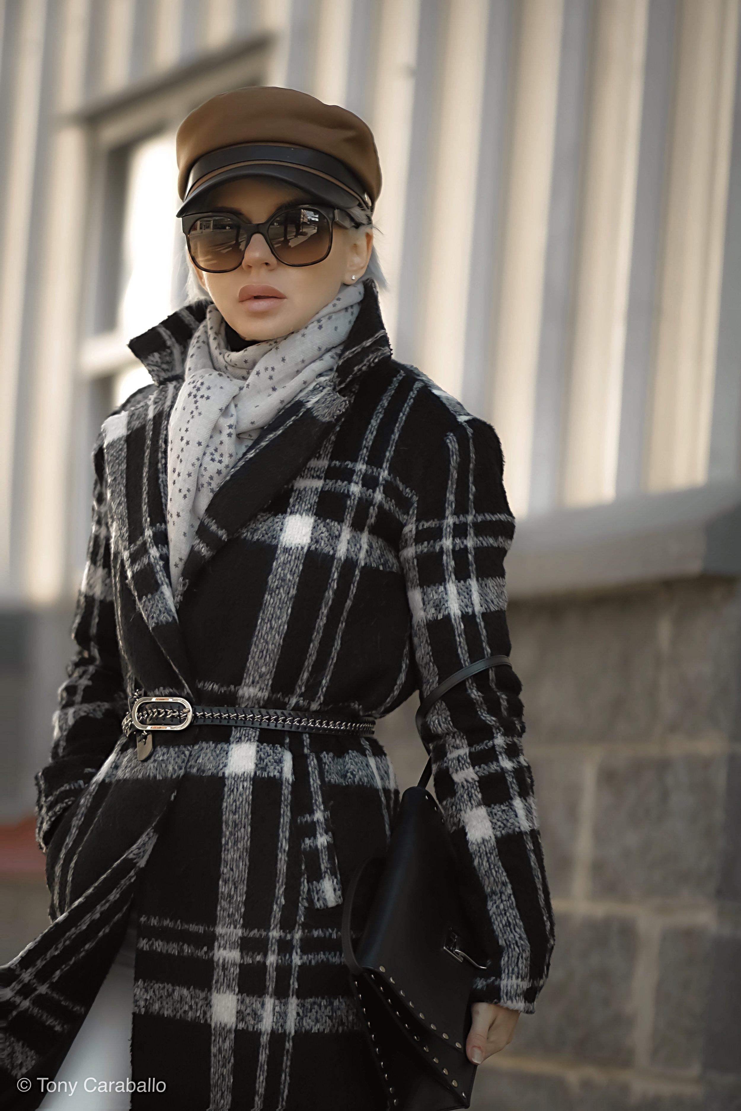 Isabel Alexander About Us plaid coat street shot