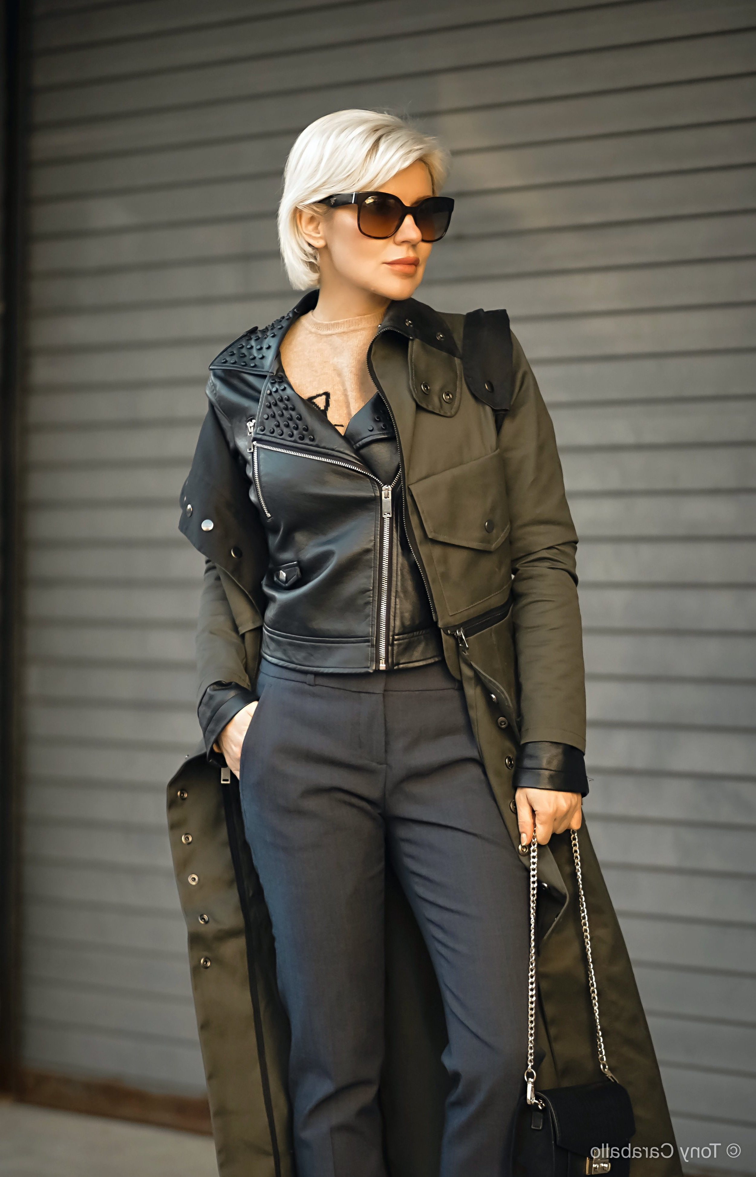 Clothia Womenson Leather Jacket torso shot further