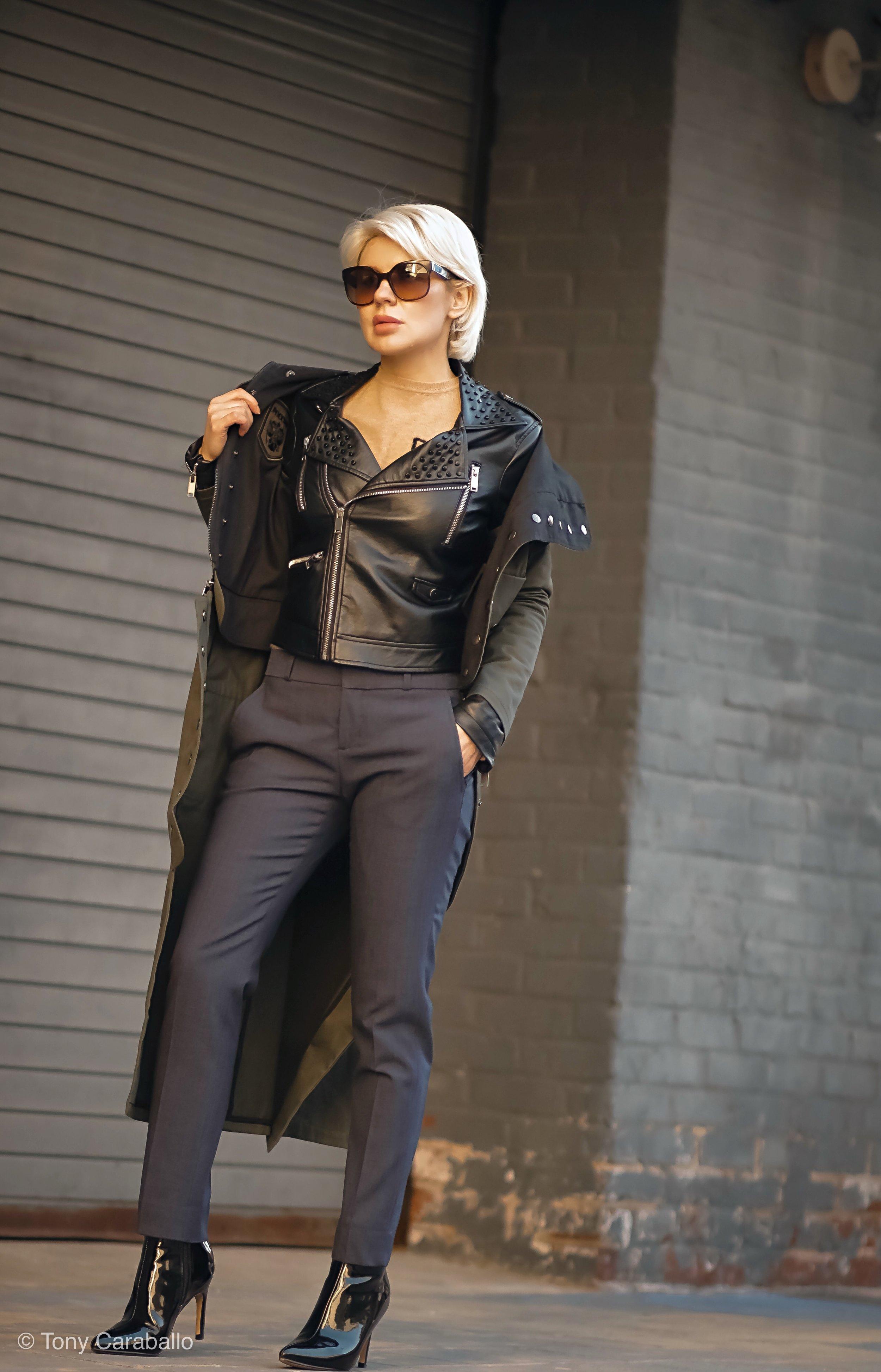 CLothia Womenson leather jacket street shot