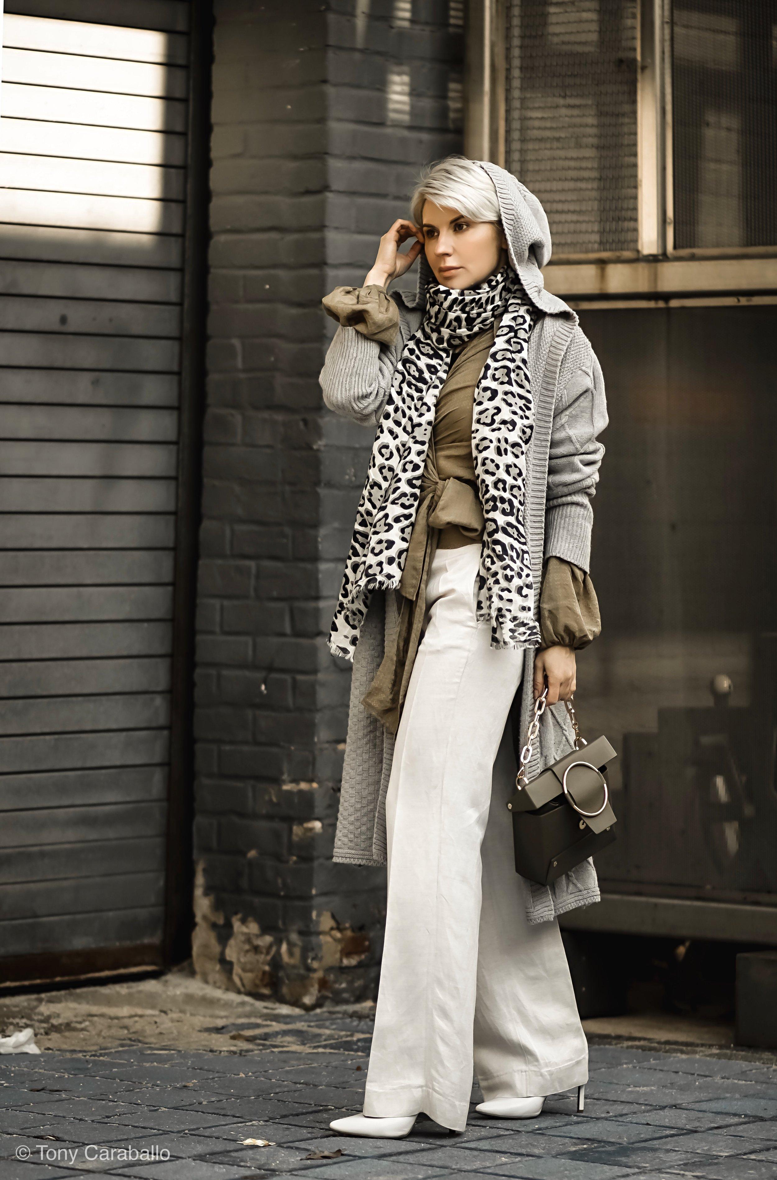 Isabel Alexander gray cardigan olive shirt.jpg
