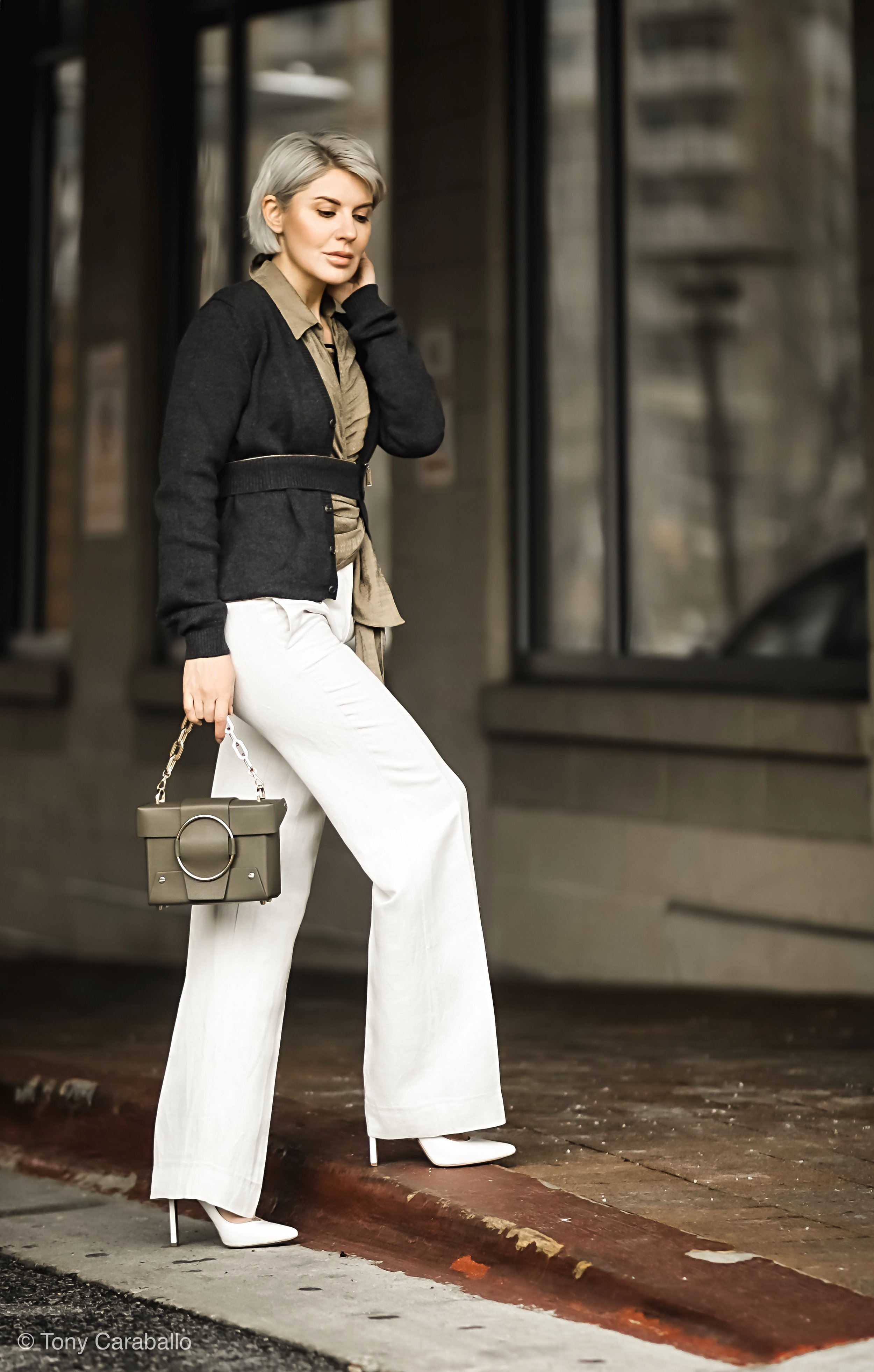 Isabel Alexander Dsquared cardi white pants outfit