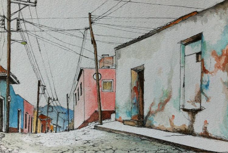 """Trinidad, Cuba, 8""""x11"""", Pen&Ink, 2015"""