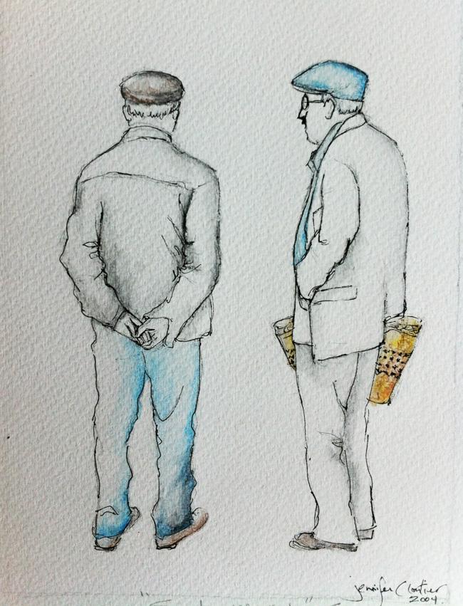 "Market Day, 6""x9"" Pen&Ink, 2004"