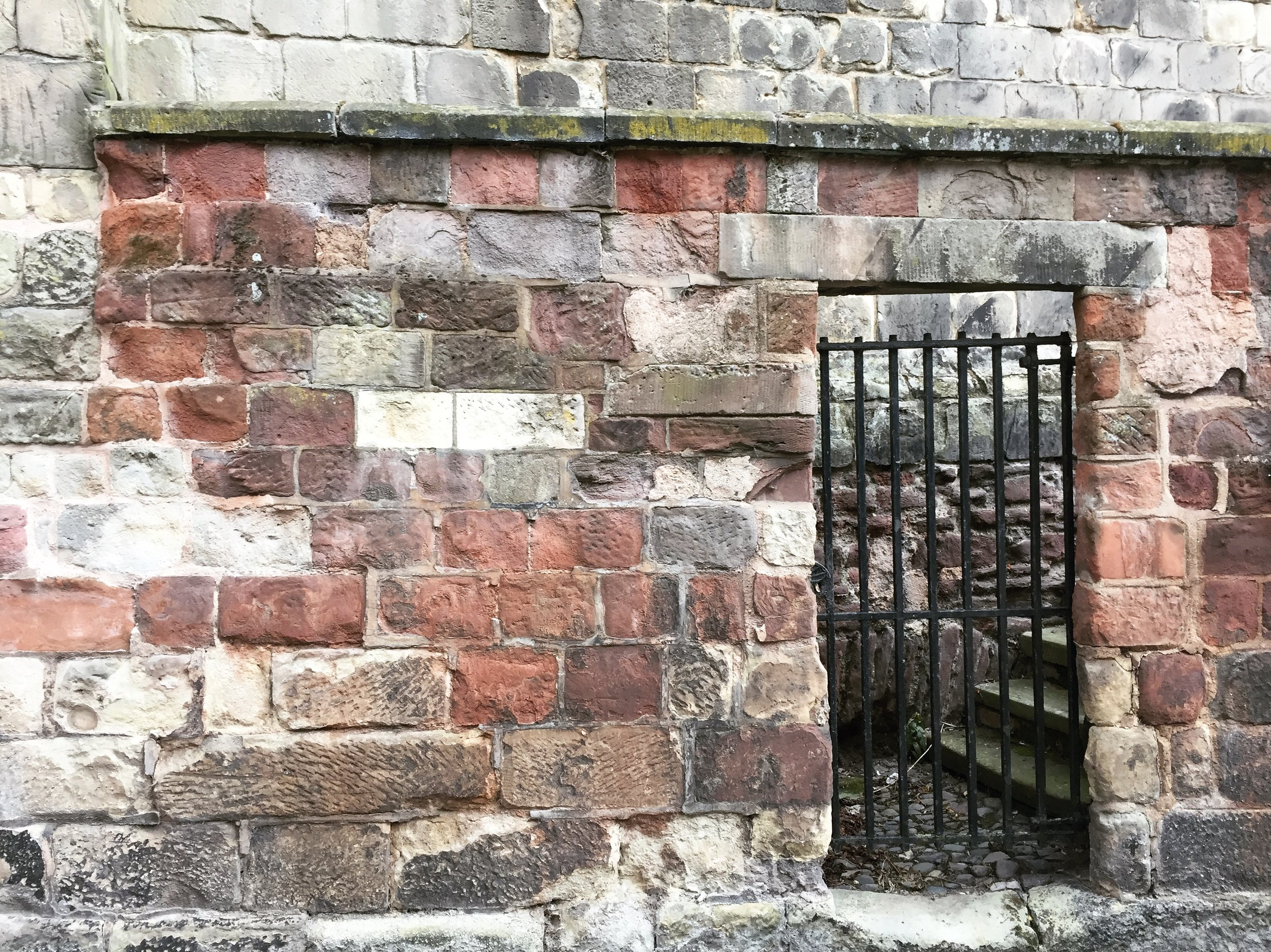 Shrewsbury. This wall is likely medieval, though like the family axe it's had a few new handles and a few new heads...