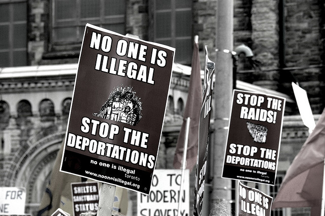 """""""No One is Illegal! May Day of Action,""""  by Flickr user  Tania Liu (CC BY-ND 2.0  license )."""