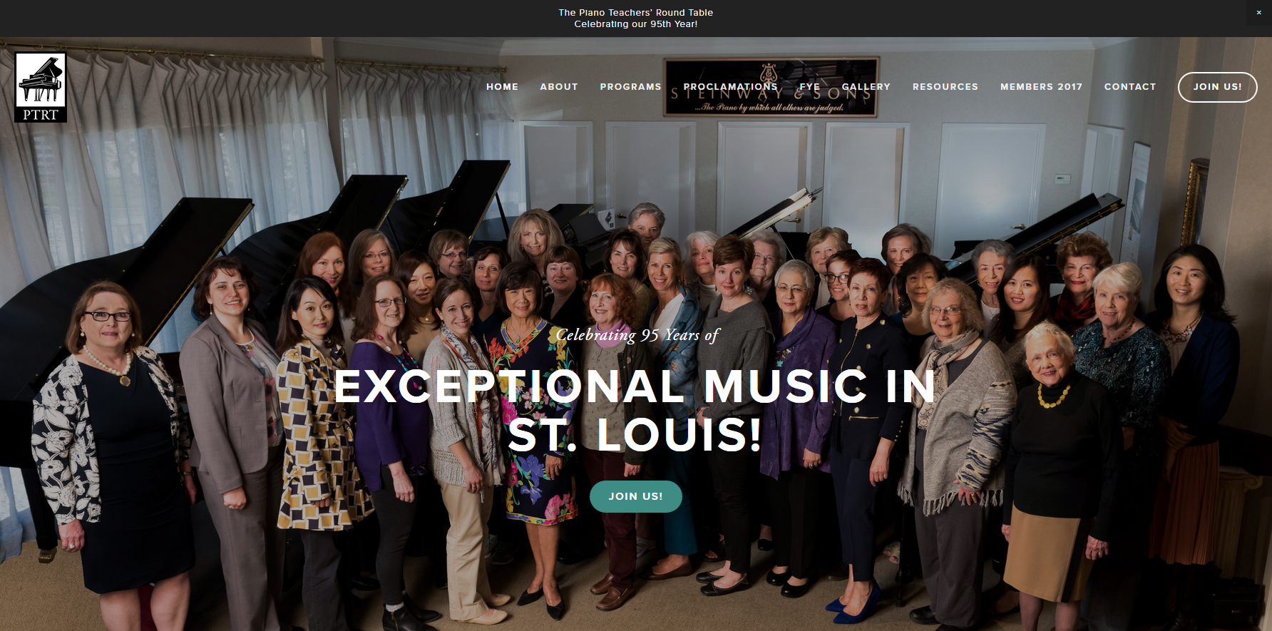 The Piano Teachers' Round Table was established April 5, 1922 by a group of dedicated musicians with a desire to further and enhance the appreciation of good music in the St. Louis area. PTRT meets monthly September through May.