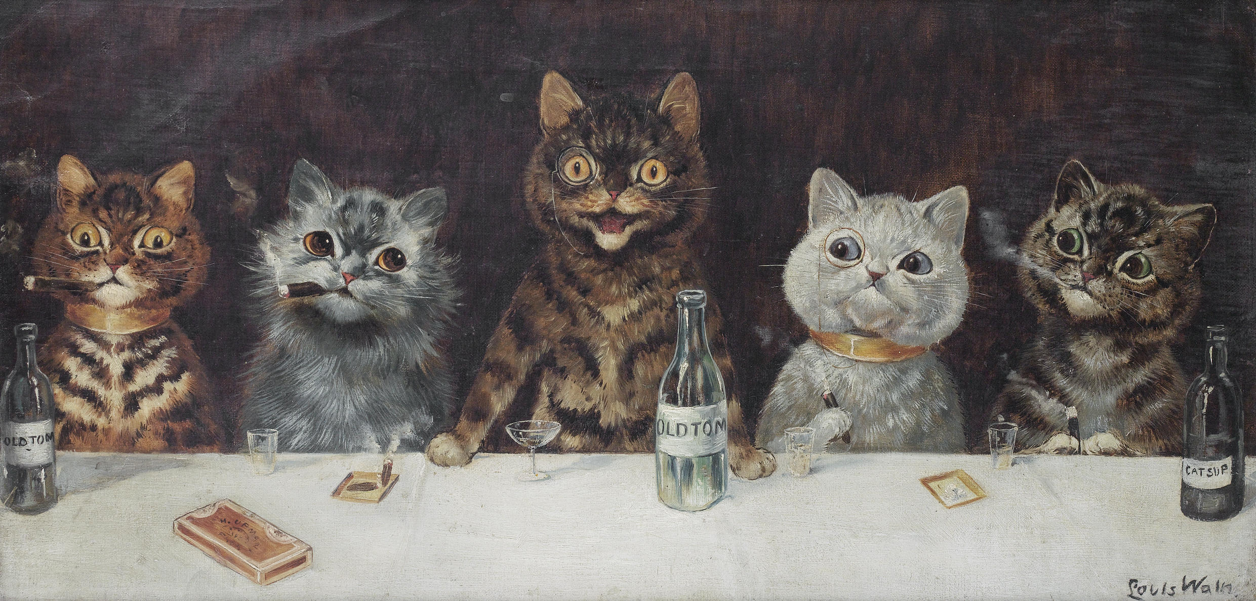 The Bachelor Party by Louis Wain