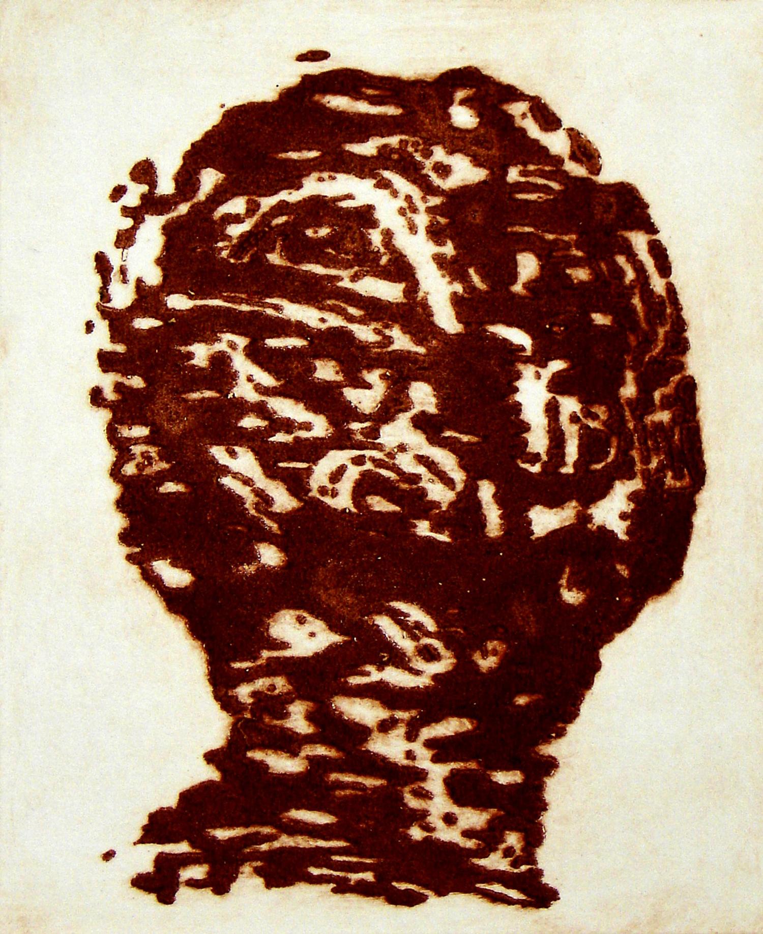 Peter Griffin, Carborundum Head V    Date:  2007   Size (cm - unframed):  45 x 35.5   Technique:  Carborundum Etching   Materials:  Moulin Du Gue 300gsm   Edition size:  6   Publisher:  The Artist   Copyright:  The Artist    P.O.A.