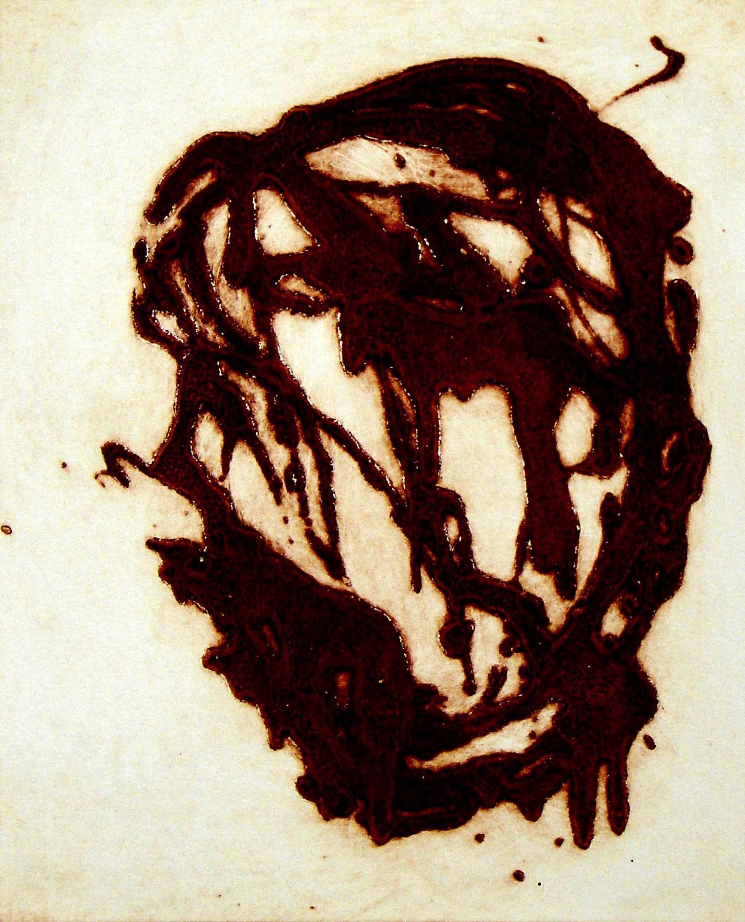Peter Griffin, Carborundum Head II    Date:  2007   Size (cm - unframed):  45 x 35.5   Technique:  Carborundum Etching   Materials:  Moulin Du Gue 300gsm   Edition size:  6   Publisher:  The Artist   Copyright:  The Artist    P.O.A.