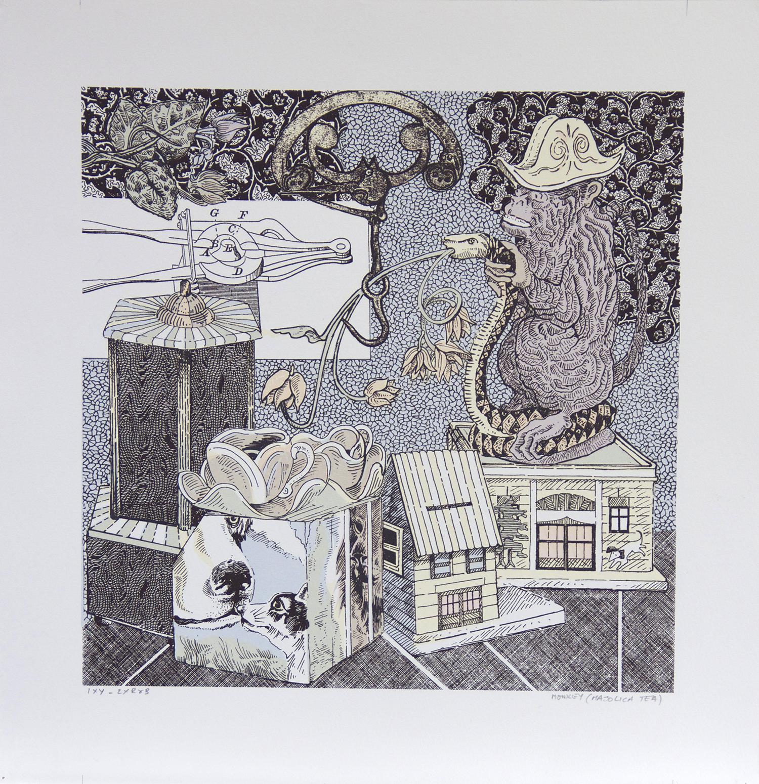 Ellen Lanyon, Curiosities,Monkey    Date: 2014  Size (cm - unframed): 47 x 46  Technique: Screenprint  Materials:  Somerset Velvet 300 gsm   Edition size: 4  Publisher:  The Artist/ The Print Studio  Copyright: The Artist   P.O.A