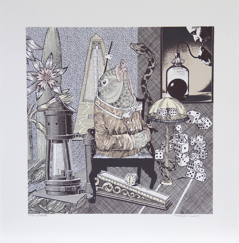 Ellen Lanyon, Curiosities, Trout    Date: 2014  Size (cm - unframed): 47 x 46  Technique: Screenprint  Materials: Somerset Velvet 300 gsm  Edition size: 4  Publisher: The Artist/The Print Studio  Copyright: The Artist   P.O.A.