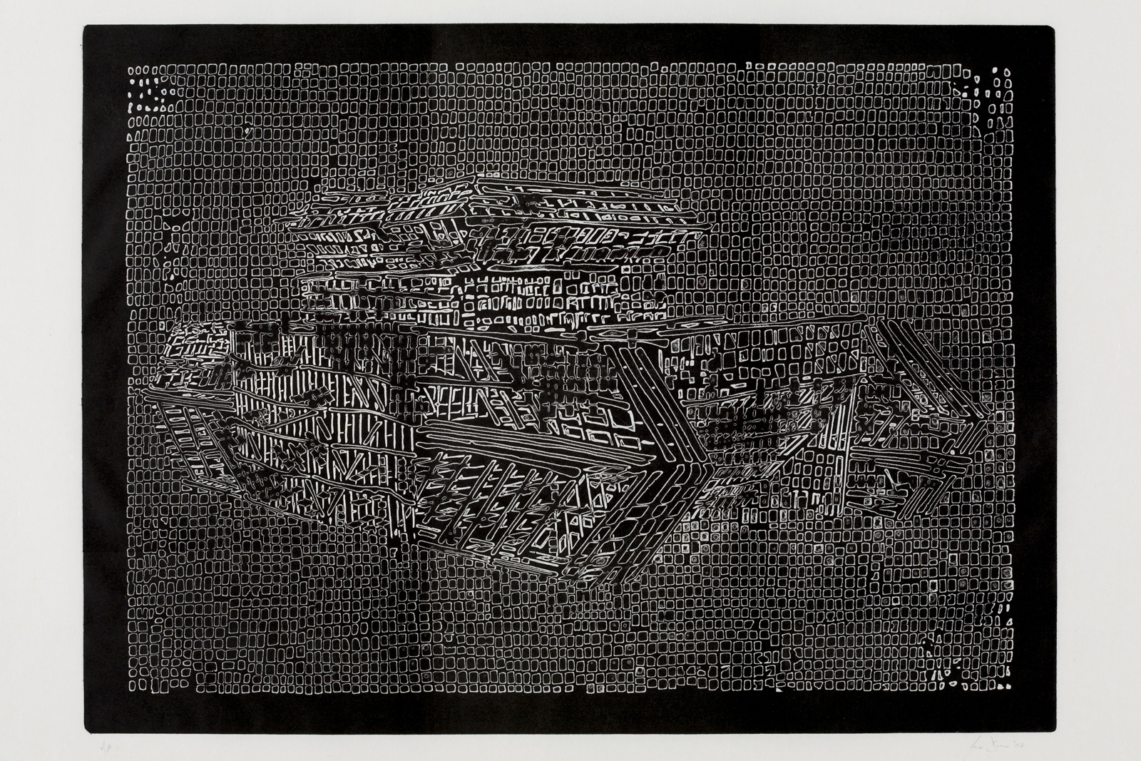 Jane Dixon, Camouflage I    Date:  2004   Size (cm - unframed): 47.5 x 65.5cm  Technique:  Etching   Materials:  Shiohara Japan paper, 40gm   Edition size:  20   Publisher:  The Print Studio / artHester   Copyright:  The Artist     P.O.A.