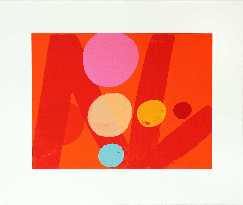 Mali Morris   RA, Line Dance    Date:  2016   Size (cm - unframed):  69 x 90  Technique:  Screenprint   Materials:  Somerset Velvet 300gsm   Edition size:  30   Publisher:  The Print Studio   Copyright:  The Artist    P.O.A.