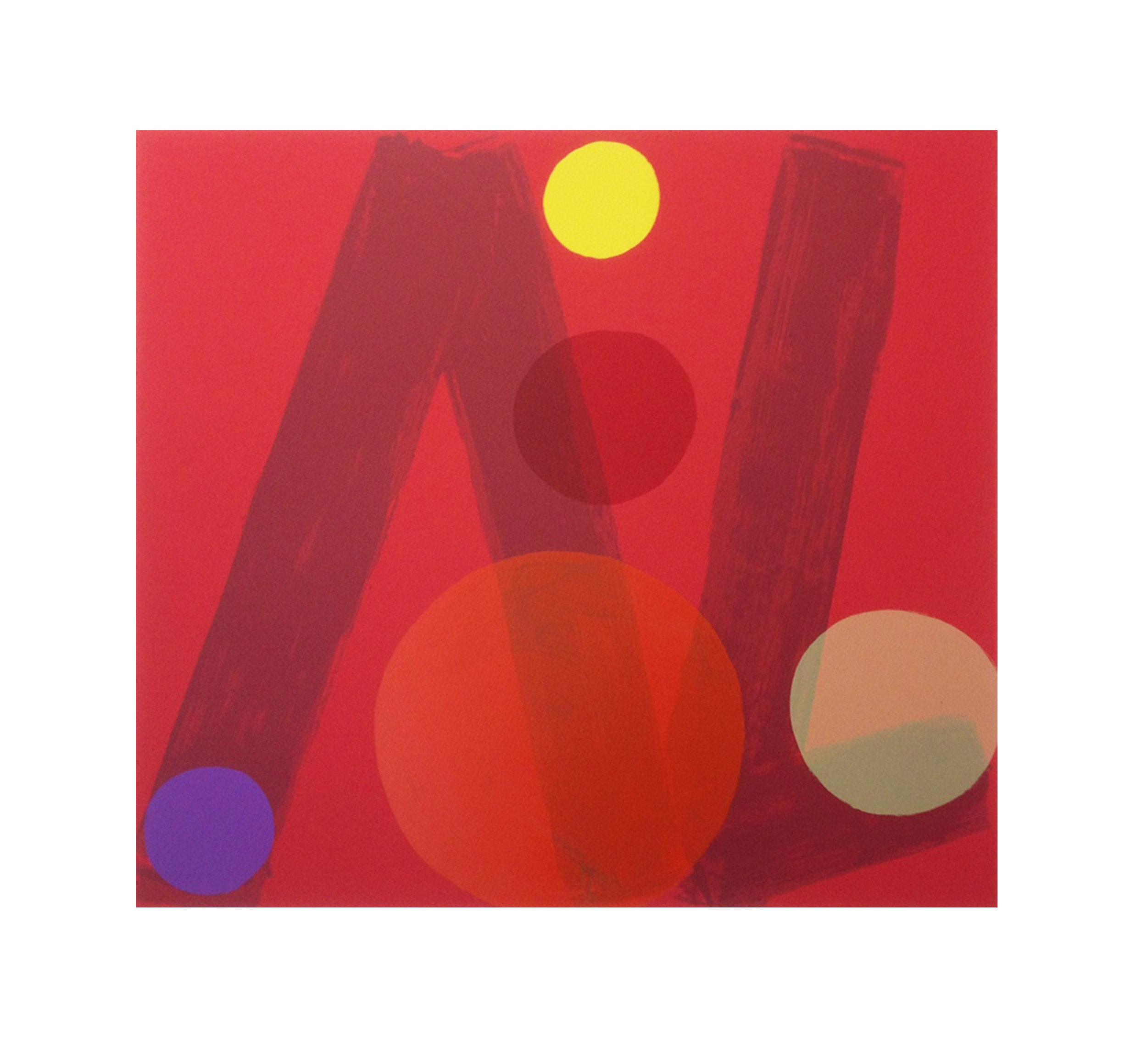 Mali Morris   RA, Rivoli Reds    Date:  2017   Size (cm - unframed):  71 x 75  Technique:  Screenprint   Materials:  Somerset Velvet 300gsm   Edition size:  30   Publisher:  The Print Studio   Copyright:  The Artist    P.O.A.
