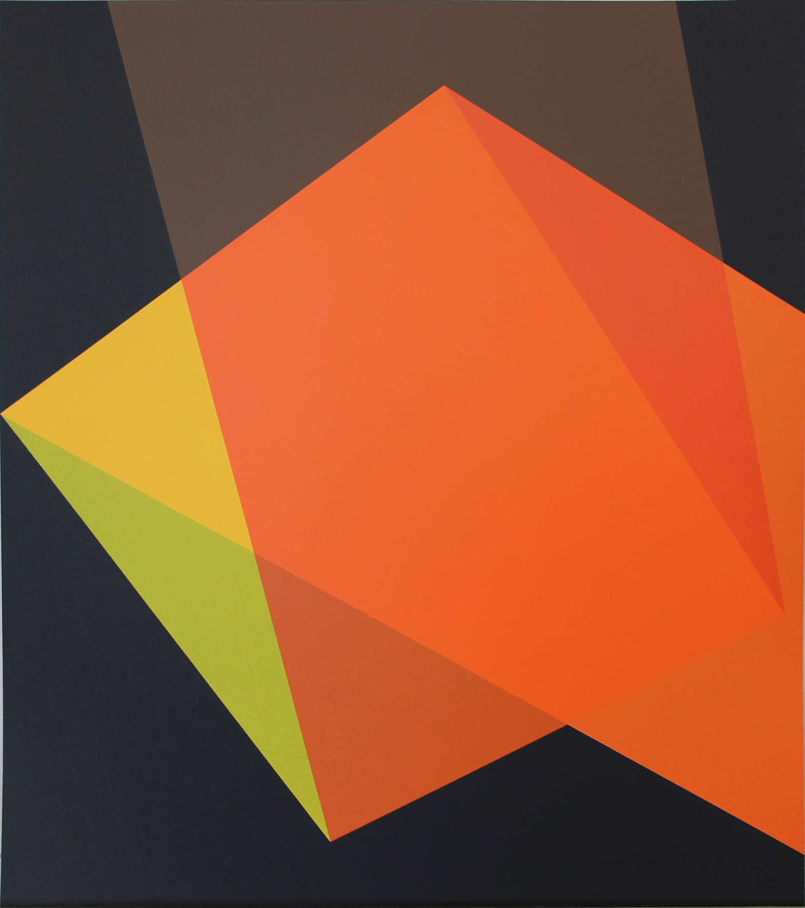 Willard Boepple, Quartet Orange    Date:  2017  Size (cm - unframed):  56 x 62.9   Technique:  Screenprint  Materials:  Somerset Velvet 300gsm  Edition size:  20  Publisher:  The Print Studio  Copyright:  The Artist   P.O.A.