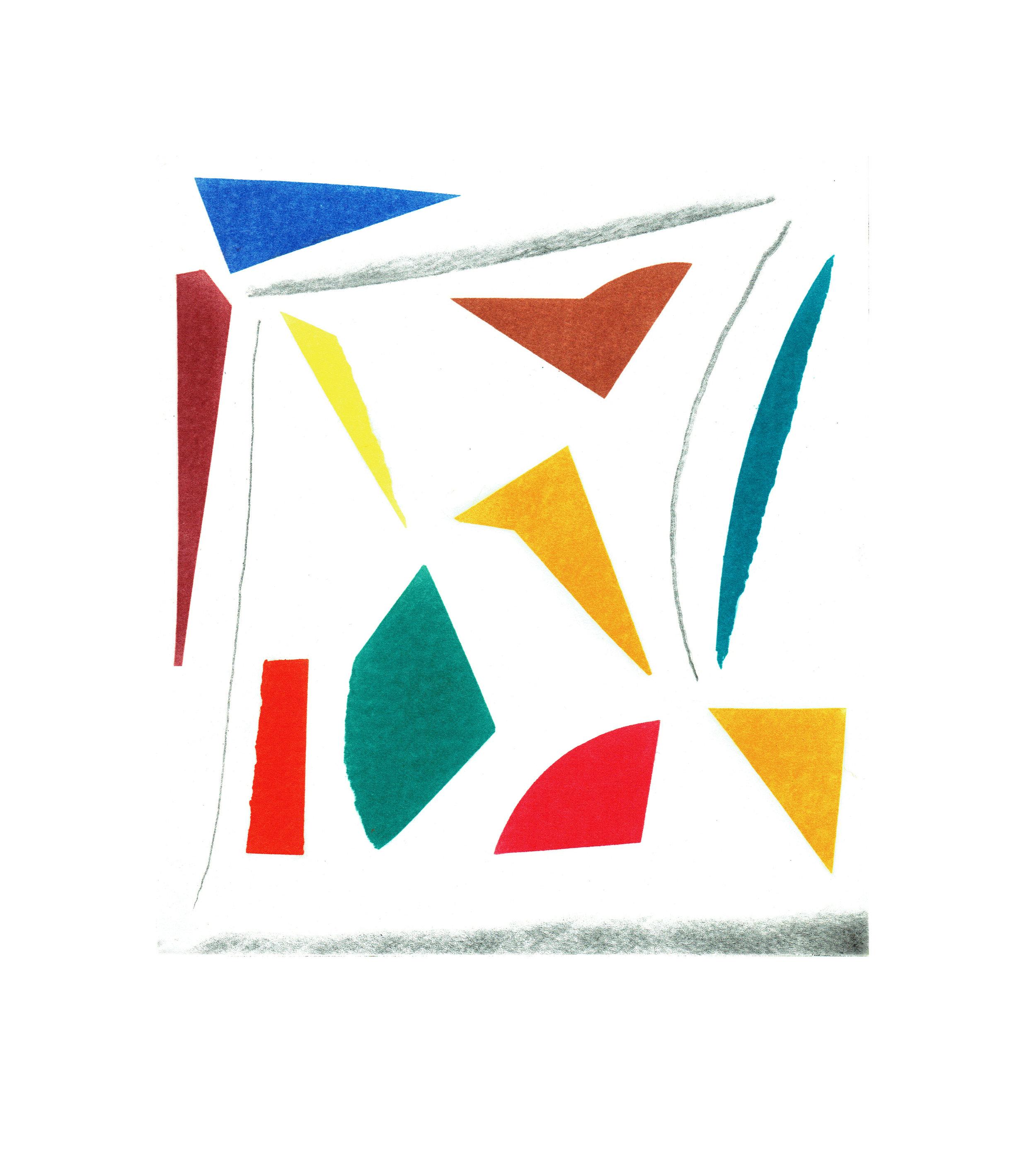 John McLean, Merry Go Round 4    Date: 2016  Size (cm - unframed):  38.2 x 34.4  Technique:  2 plate a la poupee etching  Materials:  Somerset Valvet 300gsm  Edition size:  20  Publisher: The Print Studio  Copyright: The Artist   POA