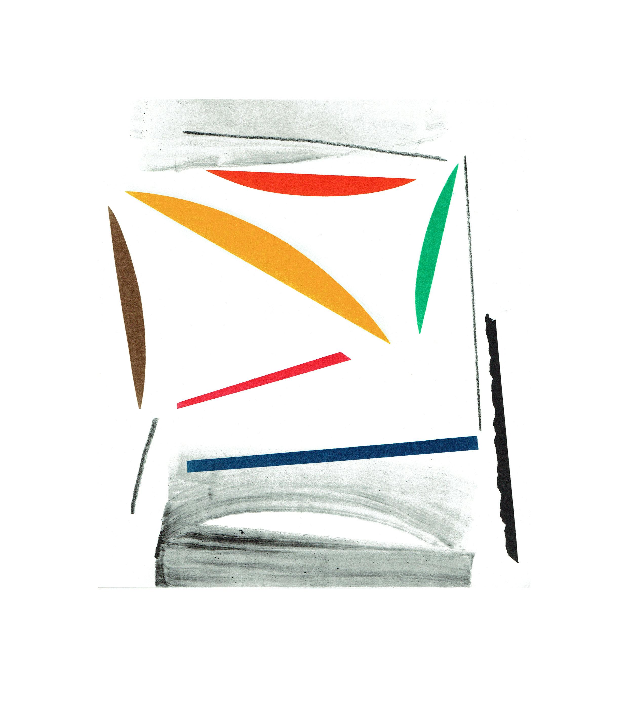 John McLean, Merry Go Round 9    Date: 2016  Size (cm - unframed):  38.2 x 34.4  Technique:  2 plate a la poupee etching  Materials:  Somerset Valvet 300gsm  Edition size:  20  Publisher: The Print Studio  Copyright: The Artist   POA