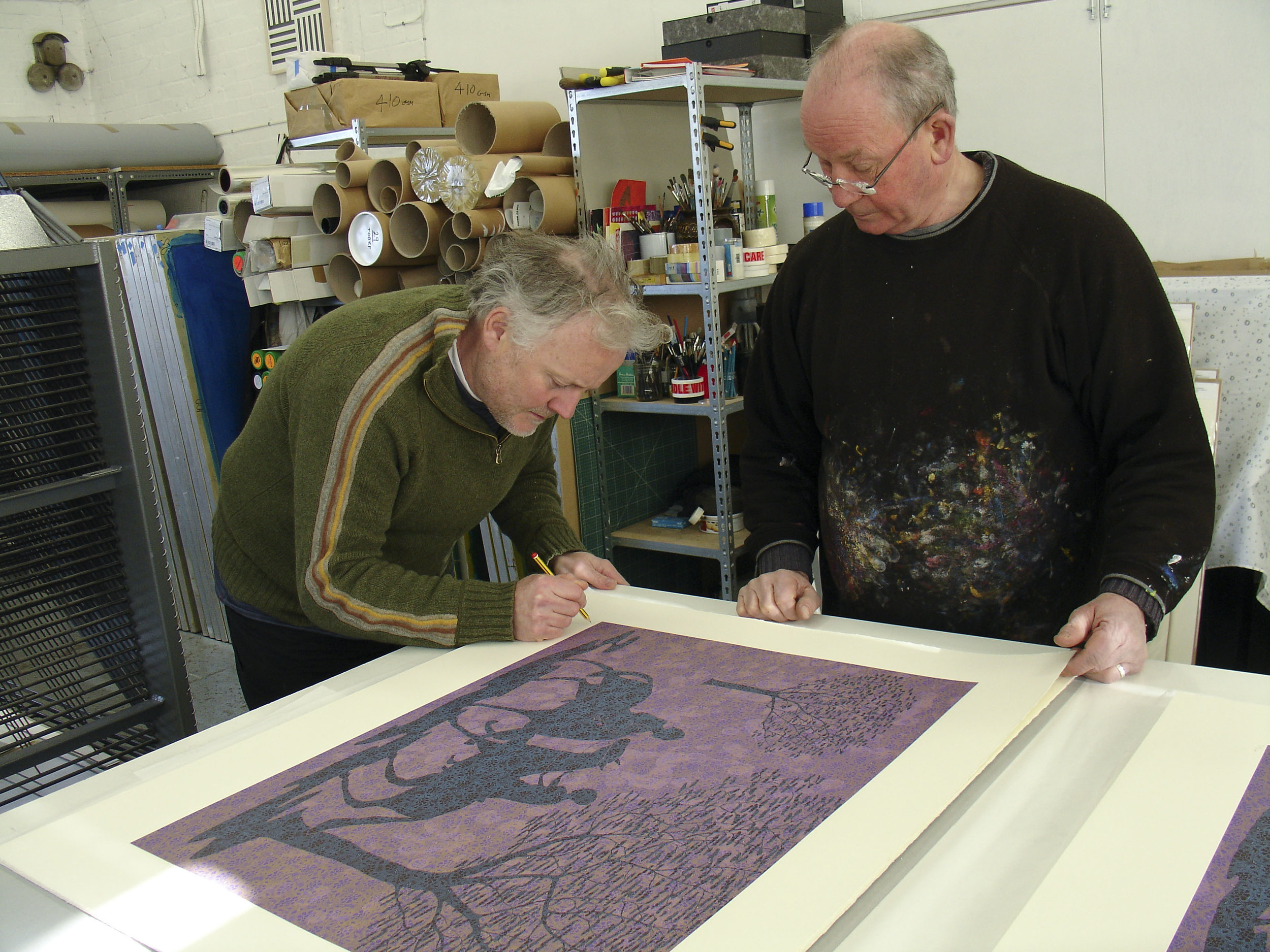 Stephen Chambers RA signing his edition with Kip in the Studio