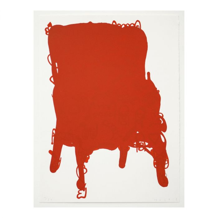 Humphrey Ocean RA, Red Chair    Date:  2018   Size (cm - unframed):  76 x 56  Technique:  Screenprint  Materials:  Somerset Velvet 300gsm  Edition size:  30  Publisher:  The Artist & The Print Studio  Copyright:  The Artist   Purchase here