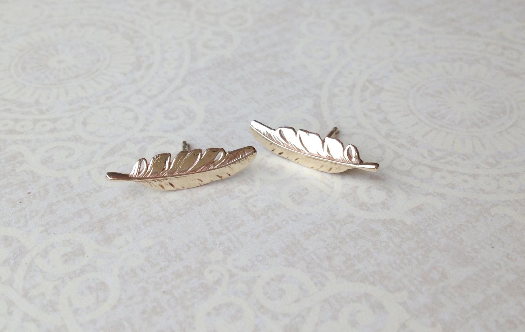 Bespoke Jewellery - gold feather earrings