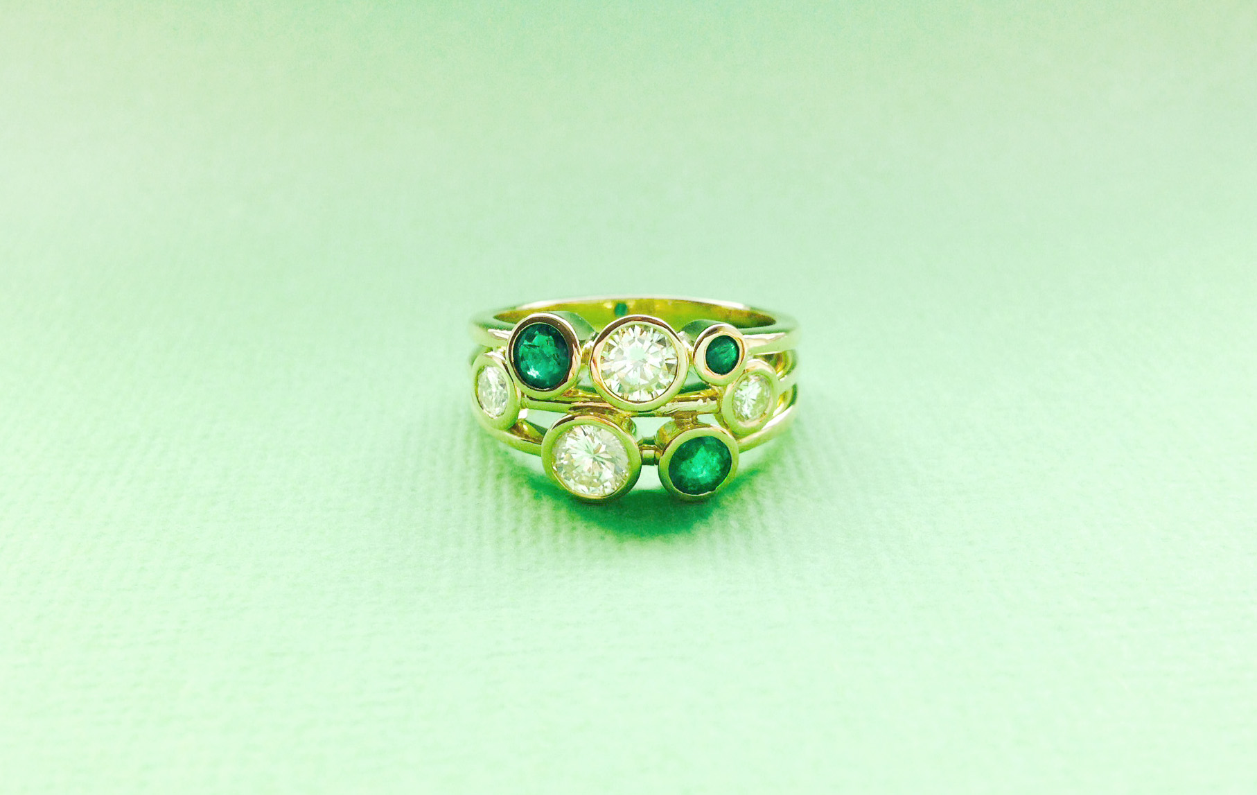 Bespoke Jewellery - unique emerald and diamond ring
