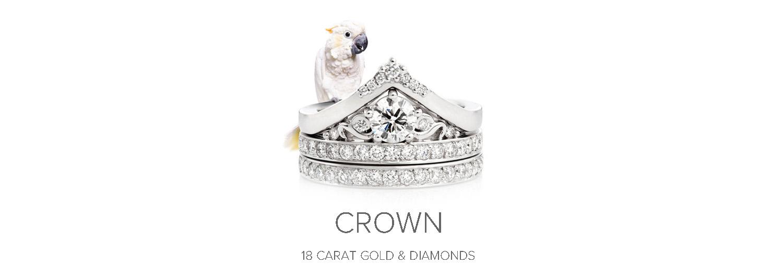 Crown Engagement Ring & Wedding Ring