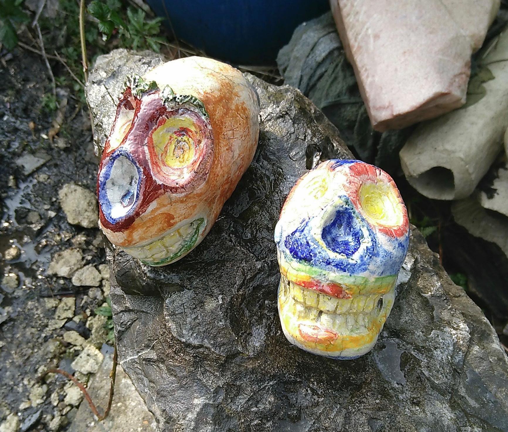 Raku fired skull ocarina