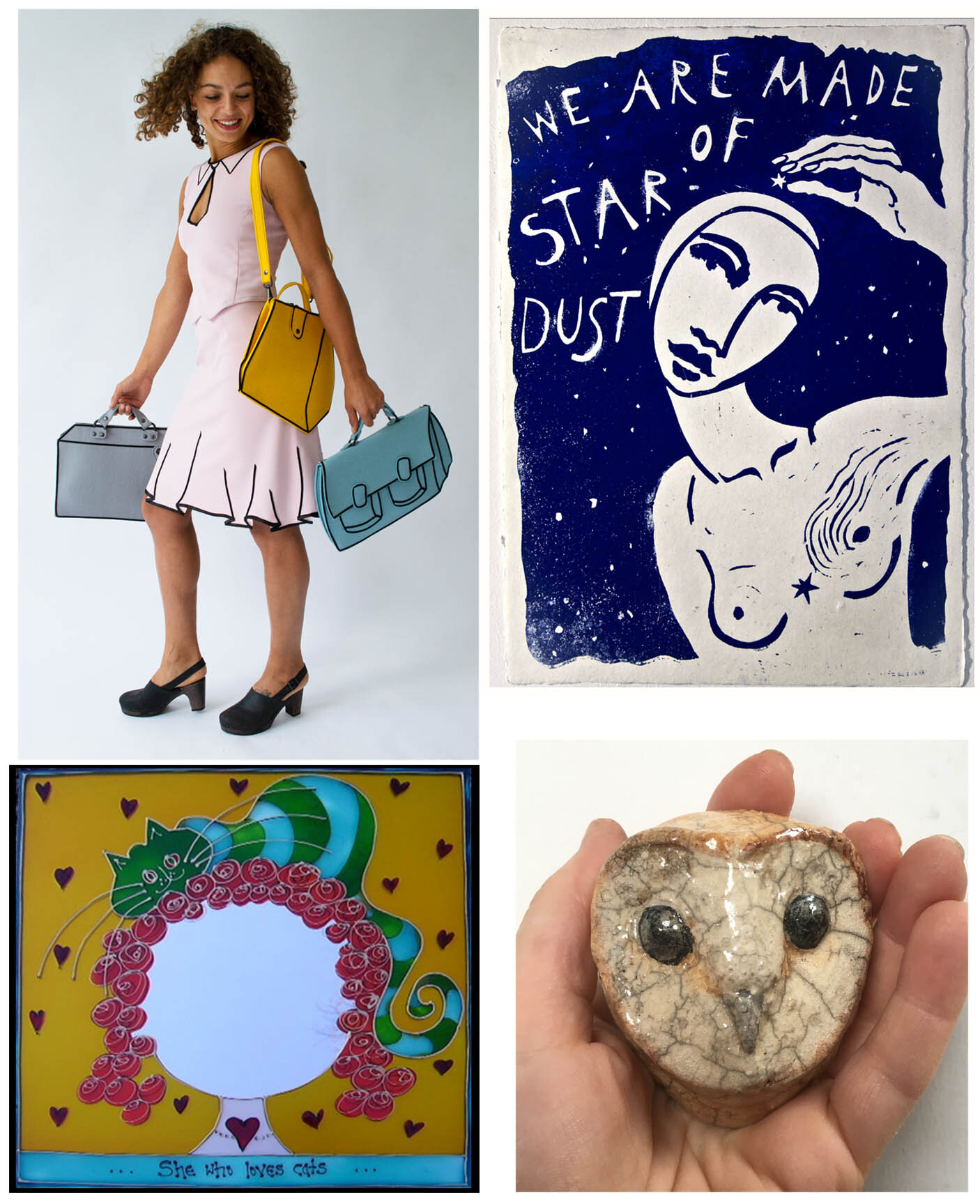clockwise; work of Sasha Wendt, Erna Kuik, Saskia de Rooy, Sophie Lanham