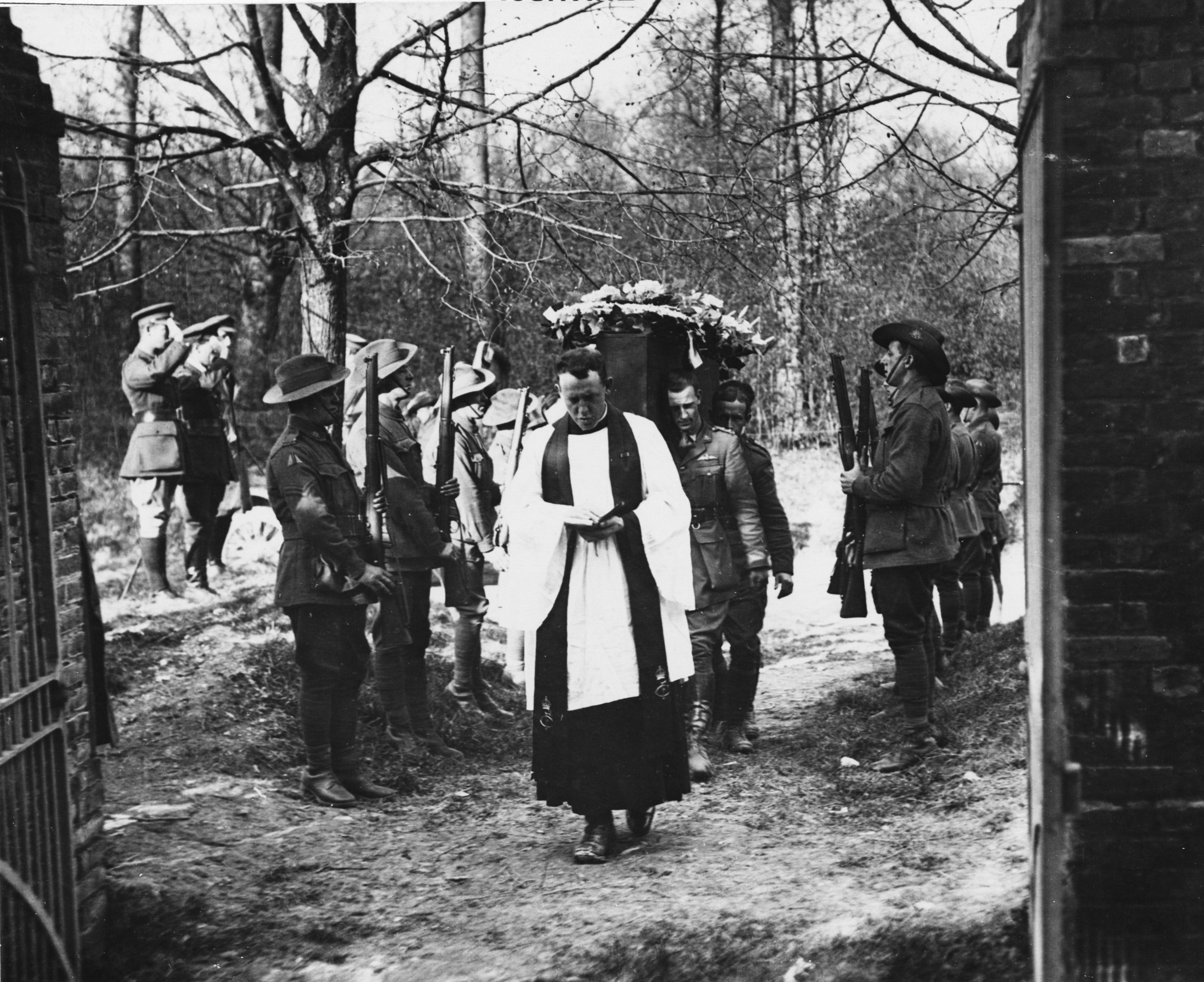 The funeral of Manfred von Richthofen, Germany's most successful fighter ace of World War One, who was buried by the Allies with full military honours.